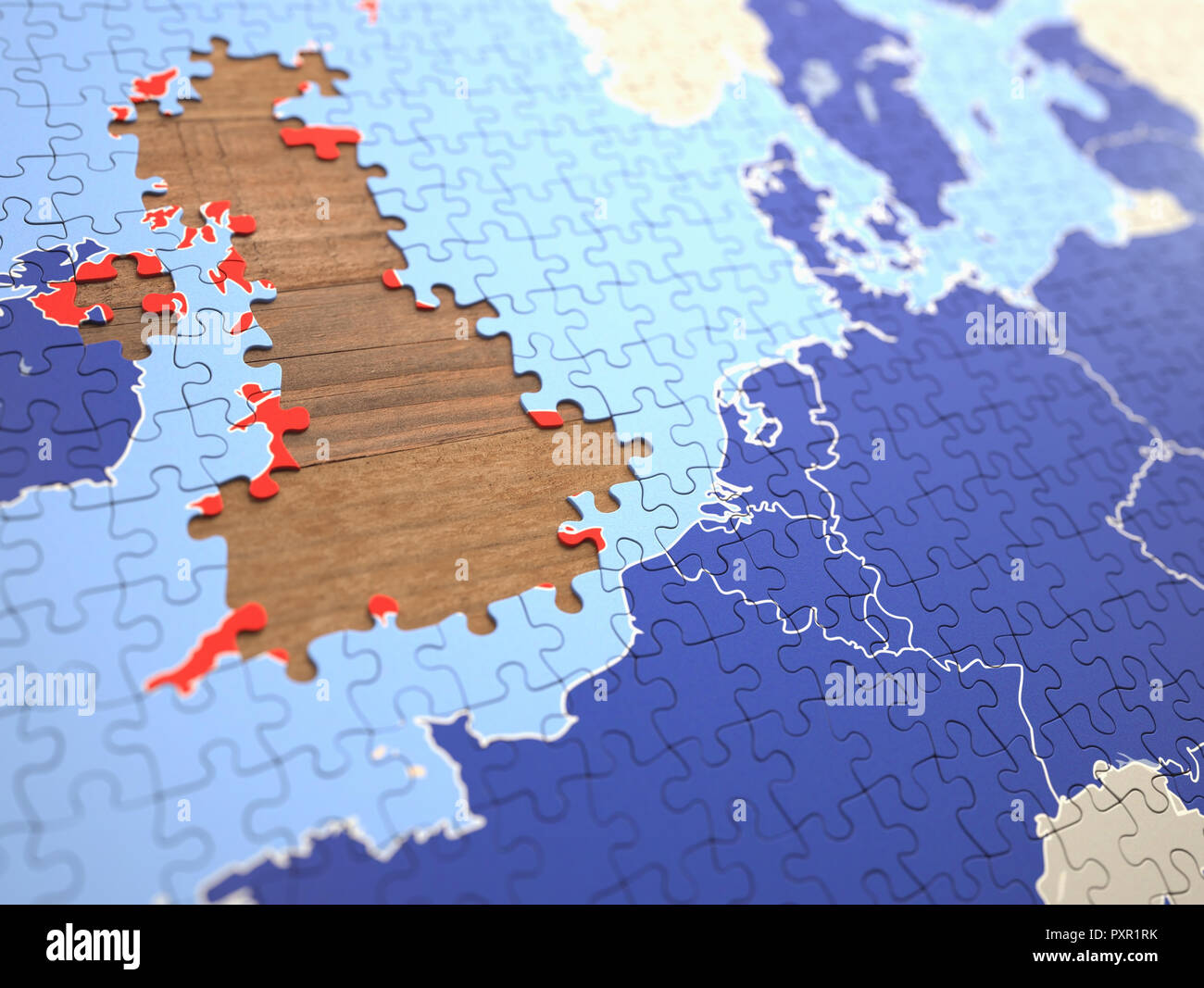 Puzzle with missing pieces from United Kingdom. Concept of the UK leaving the European Union. - Stock Image