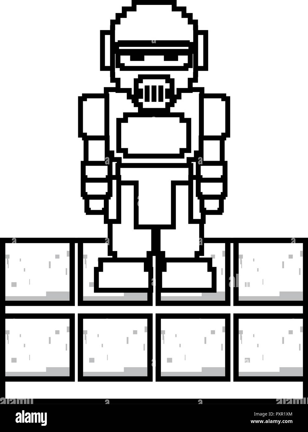 pixel video game robot linear vector illustration  - Stock Image