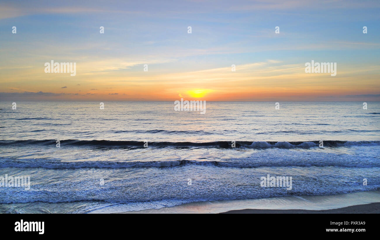 Drone sunset image taken in San Clemente, Beautiful Ariel sunset, SummertimeIn San Clemente. Stock Photo