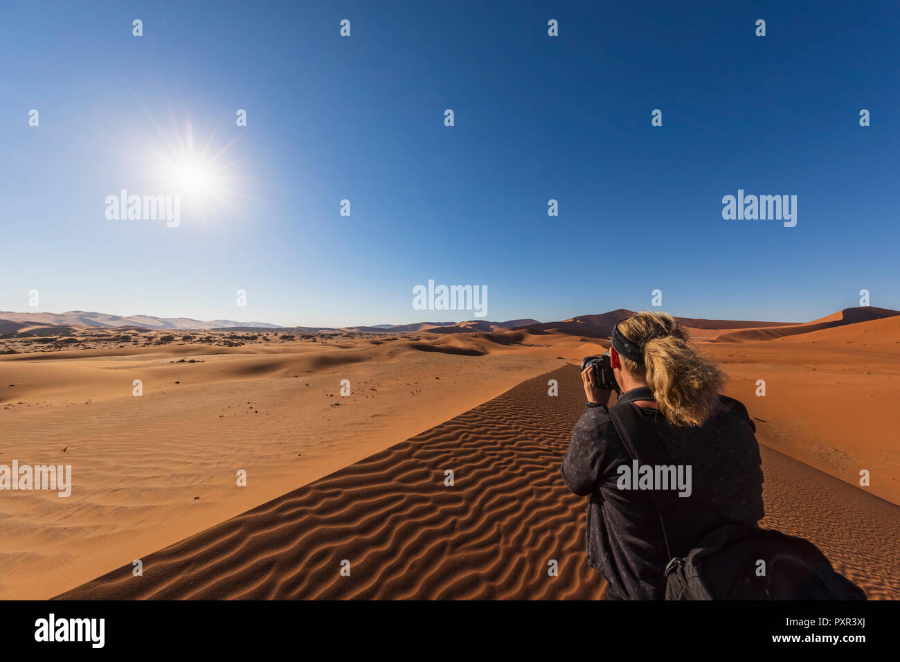 Africa, Namibia, Namib desert, Naukluft National Park, female photograper - Stock Image