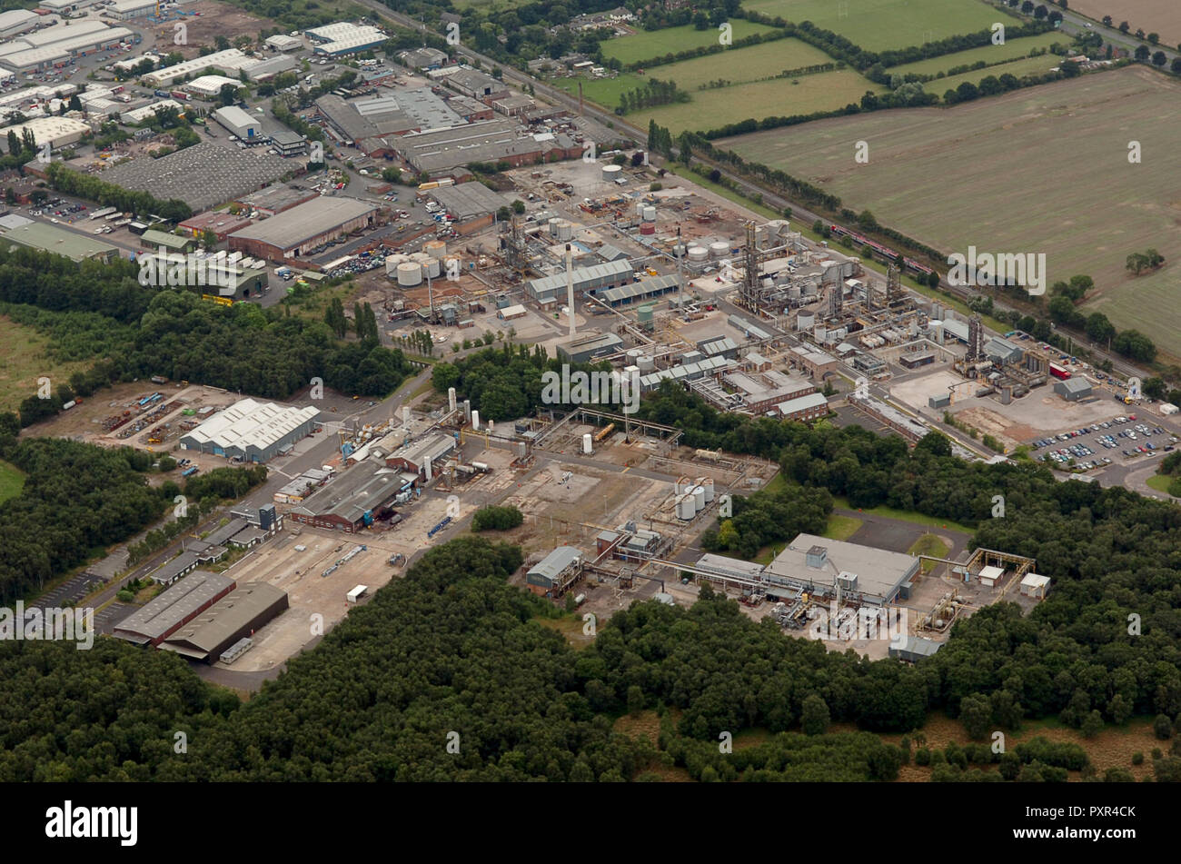Aerial view of Chemical works at Four Ashes in Staffordshire Uk run by Schenectady Europe Ltd. - Stock Image