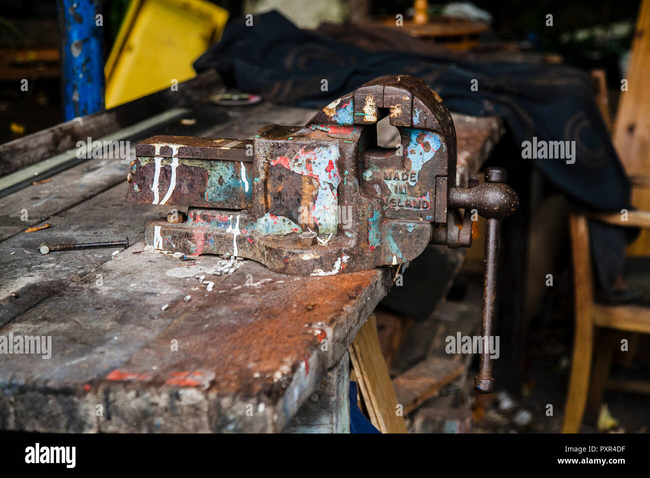 Superb A Old Steel Vice On A Work Bench At Eel Pie Island London Pabps2019 Chair Design Images Pabps2019Com