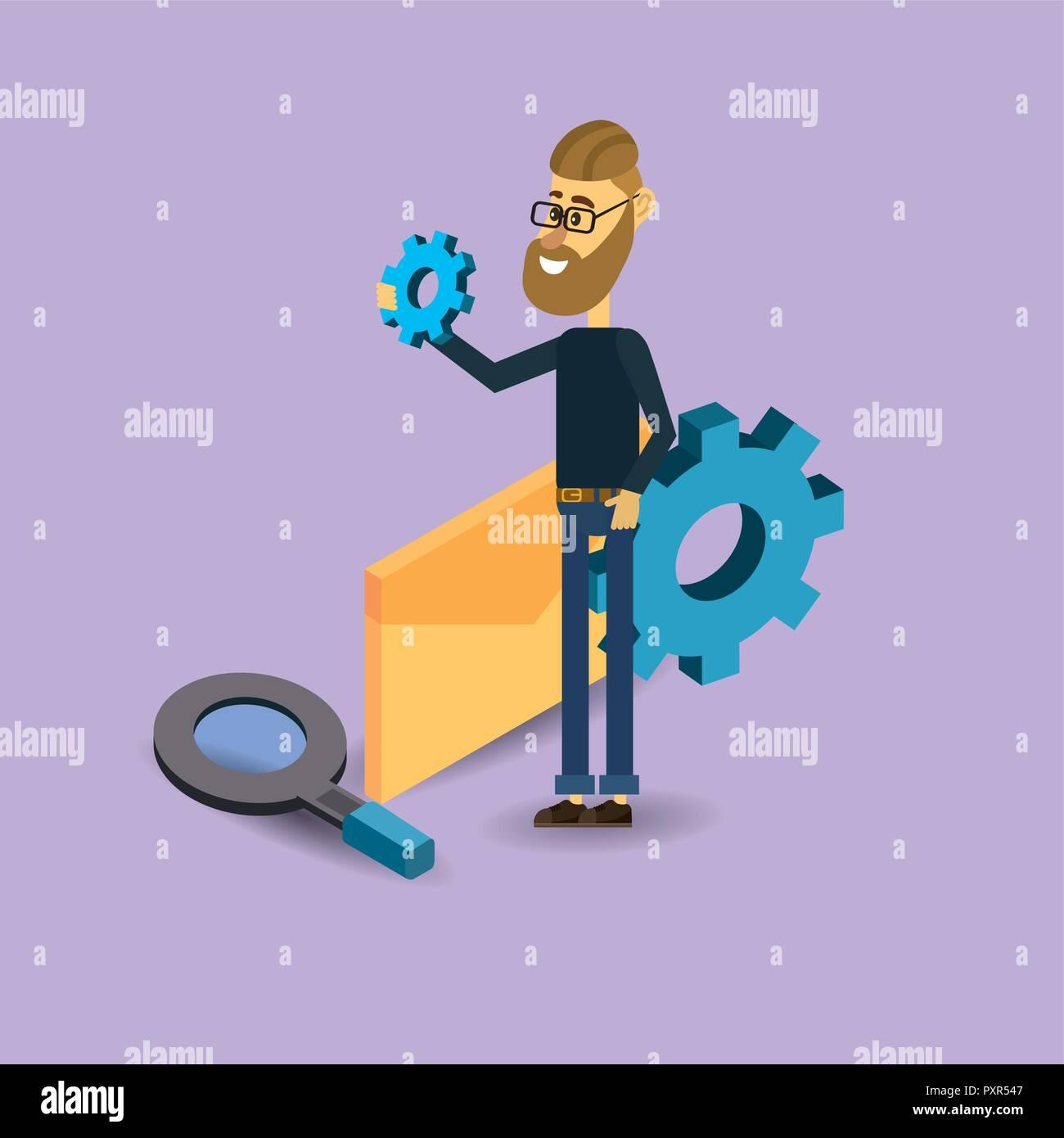 search engine cartoon - Stock Vector