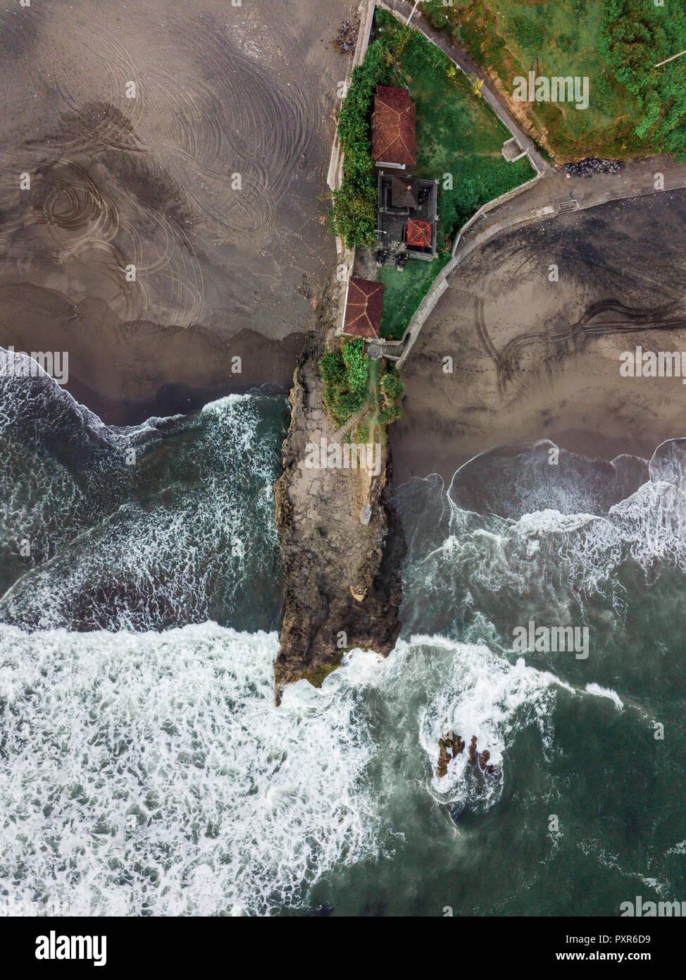 Indonesia, Bali, Aerial view of Bali island, rocky beach Stock Photo