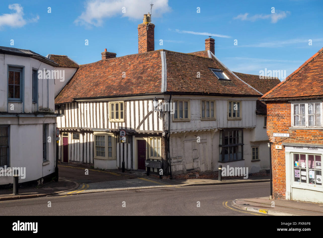 Historic One Myddylton Place, timber framed Tudor house, Saffron Walden, historic market town in Uttlesford, Essex, UK - Stock Image