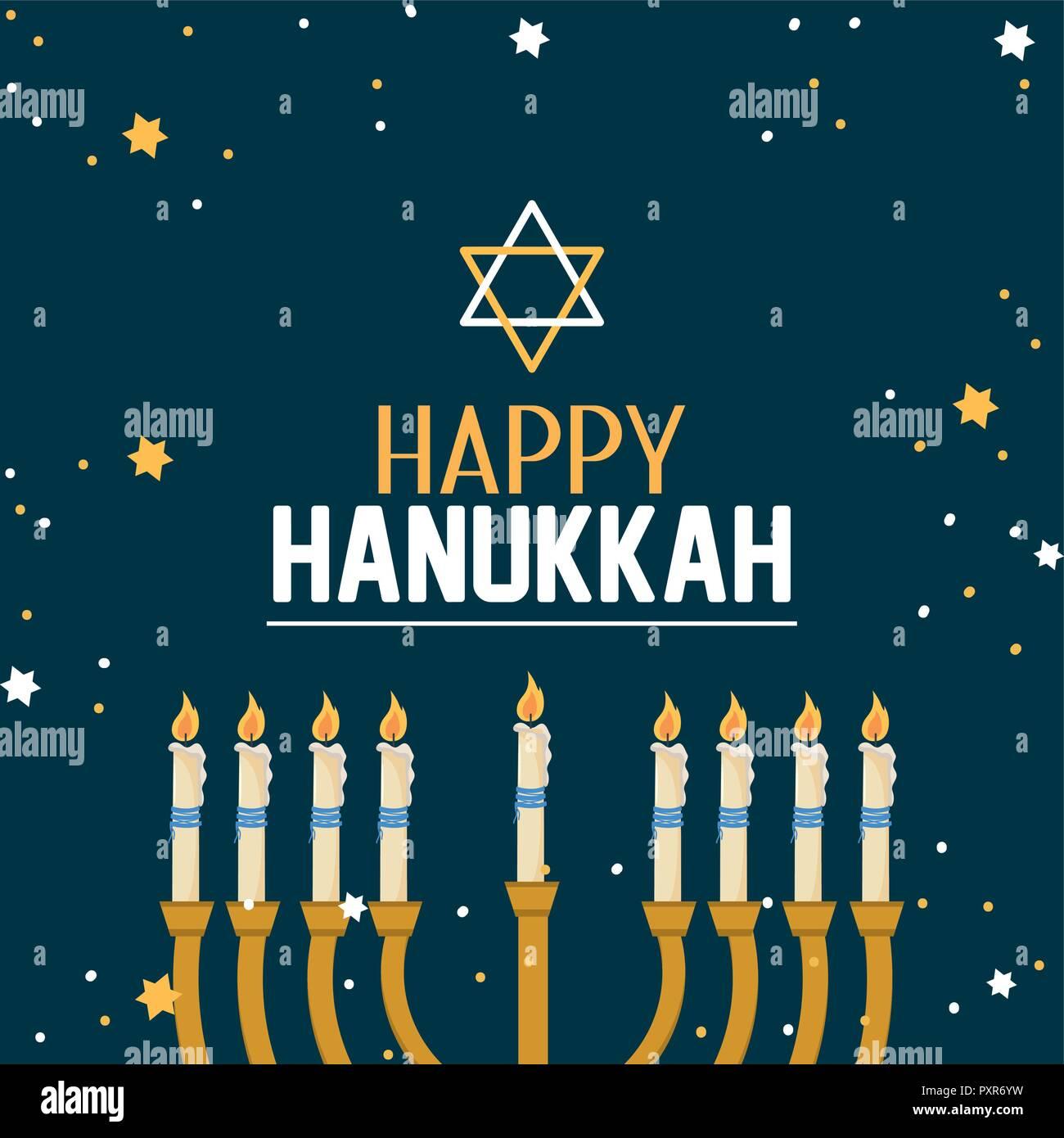 happy hanukkah decoration with david star - Stock Image