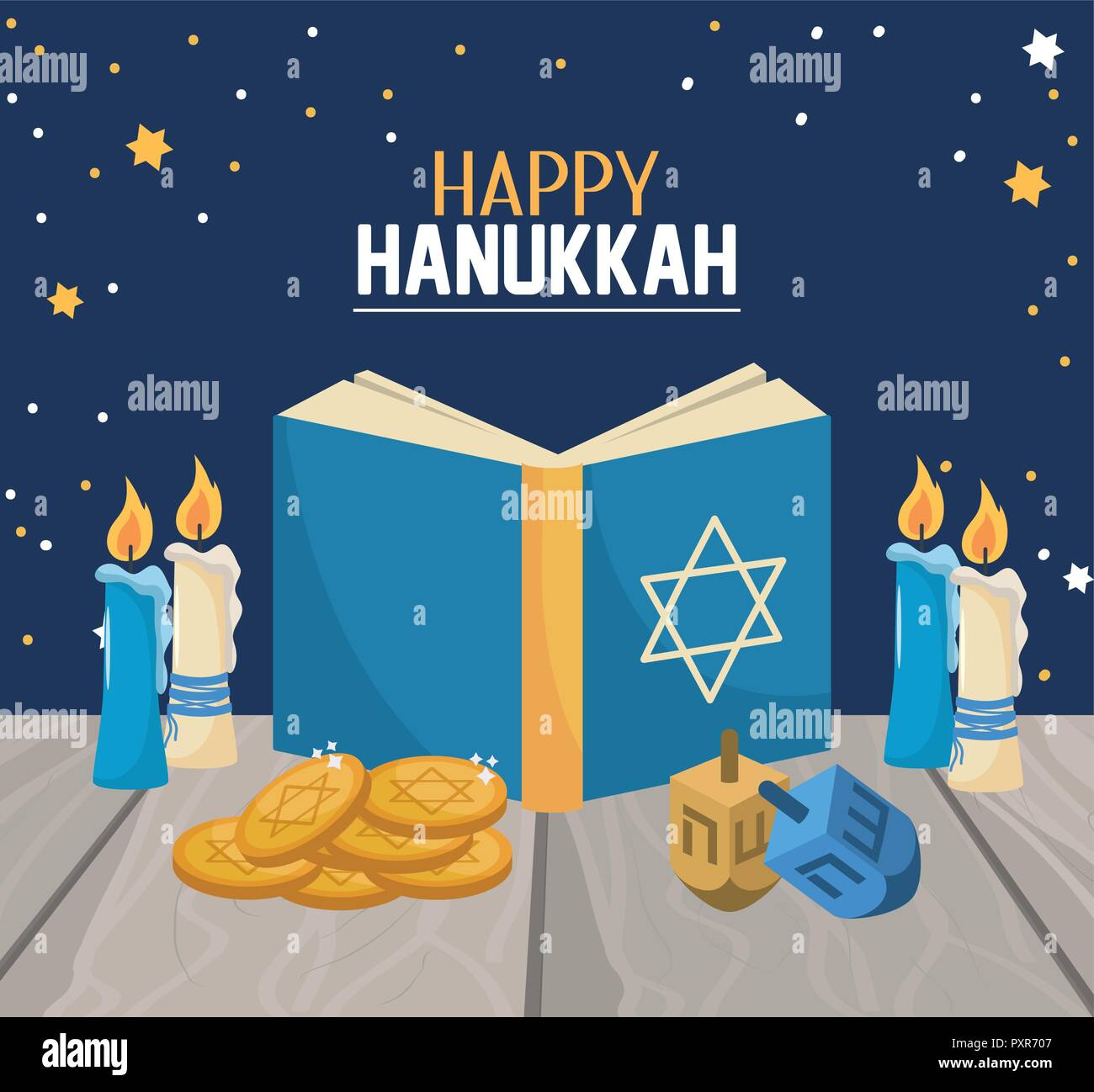 hanukkah book with candles and spin decoration - Stock Image