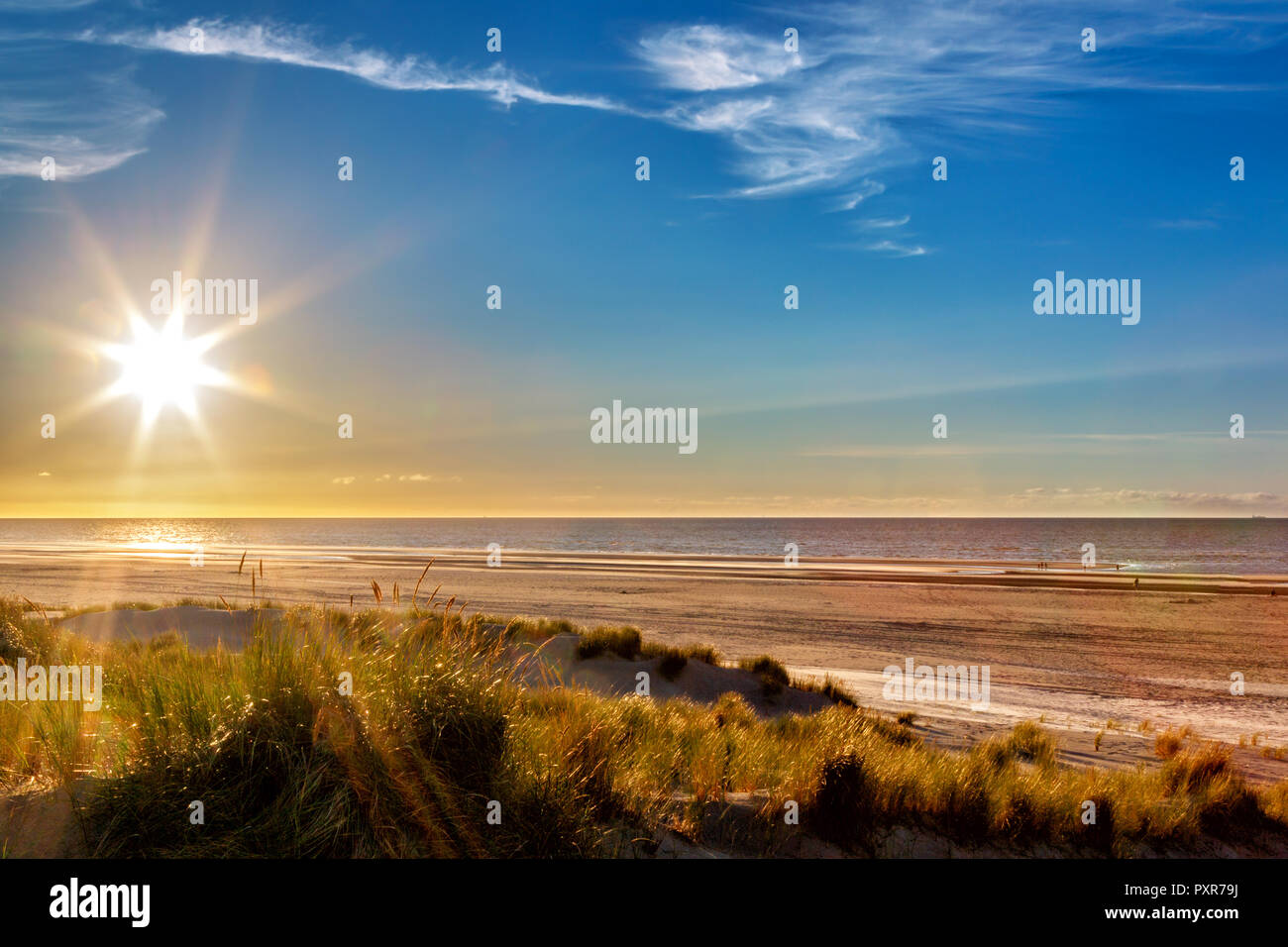Sunset at the beach on the East Frisian Island Juist in the North Sea, Germany. Stock Photo