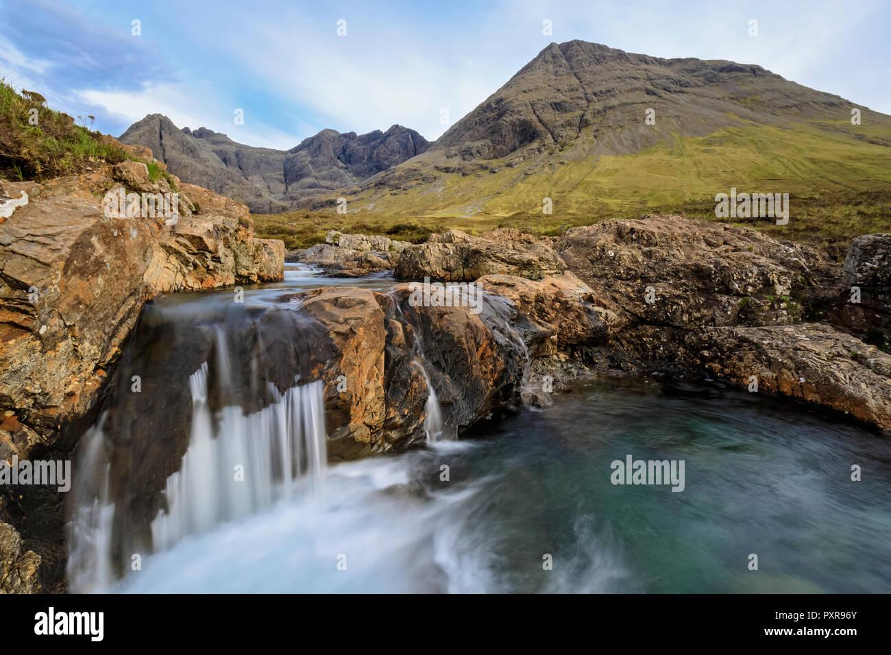 UK, Scotland, Inner Hebrides, Isle of Skye, Glen Brittle, River Brittle, Fairy Pools - Stock Image