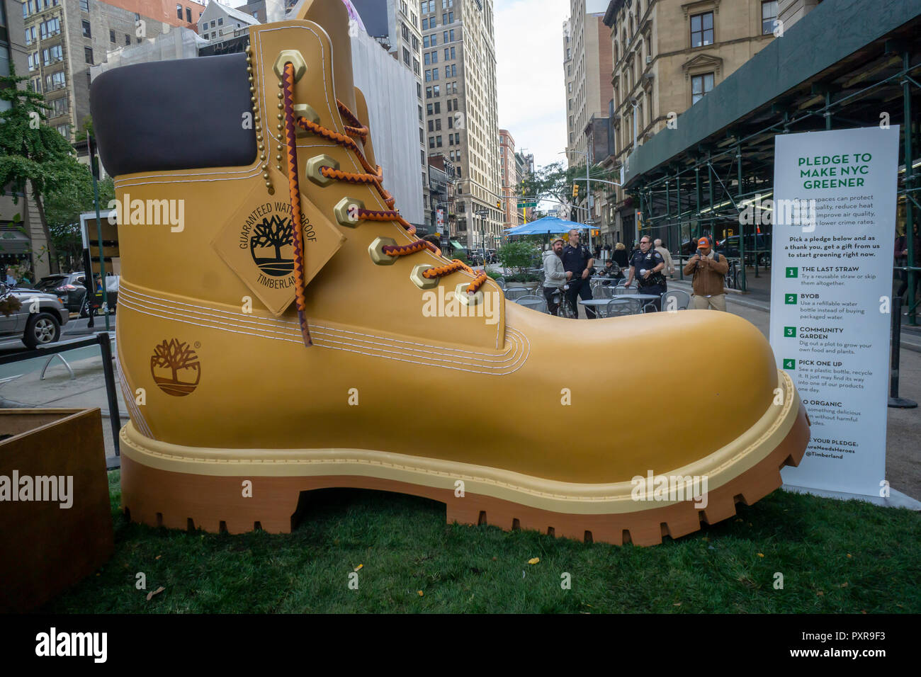 9b0f4103ca91 A giant Timberland boot attracts visitors to Flatiron Plaza in New York on  Tuesday