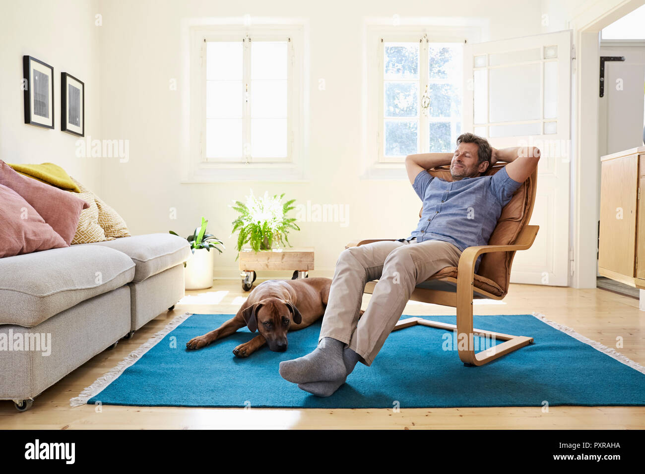 Man relaxing at home with his dog by his side - Stock Image
