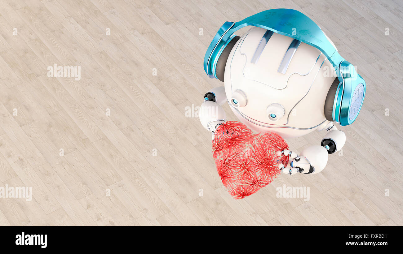 3D rendering, Little drone with headphones holding heart - Stock Image