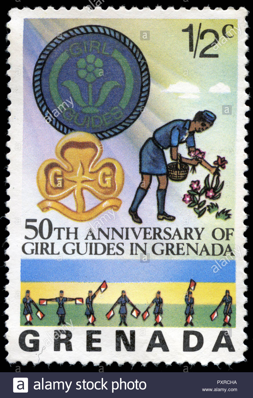 Postmarked Stamp From Grenada In The 50th Anniversary Of Girls Guides Series Issued 1976