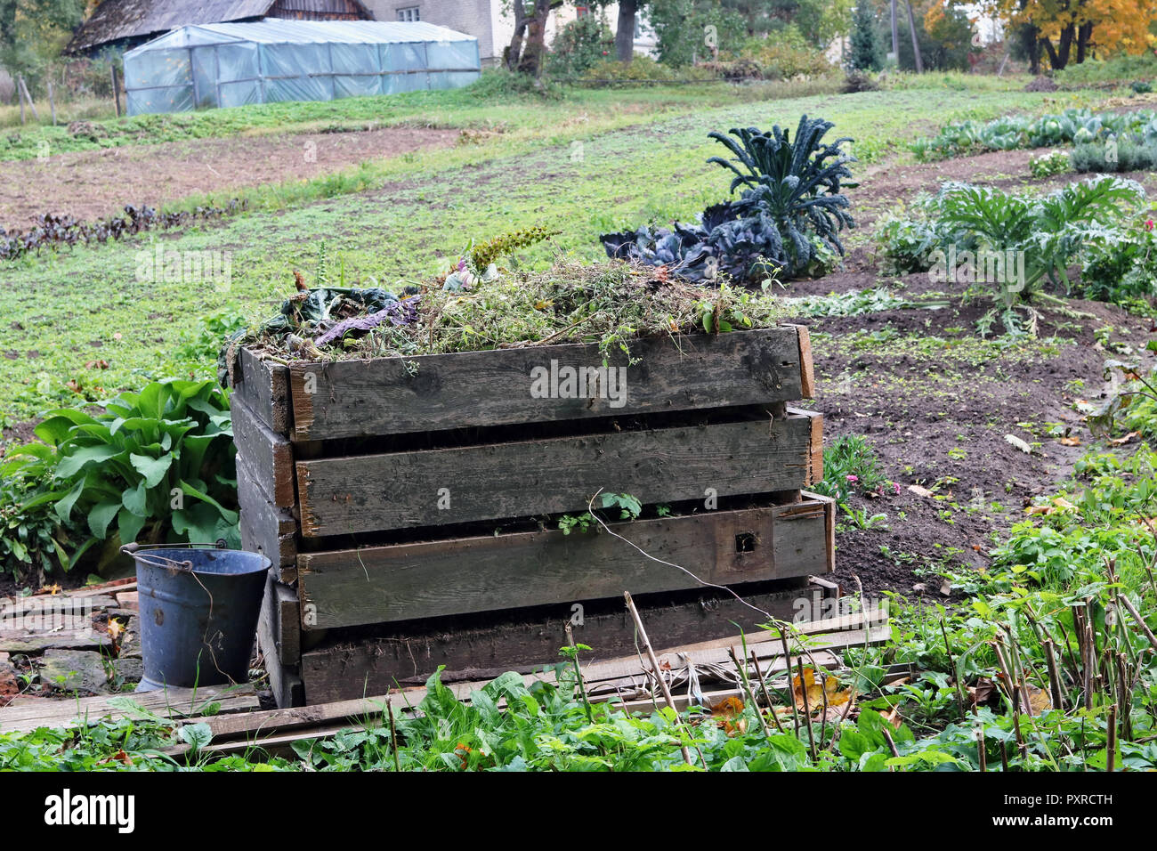 Seasonal Work In The Autumn Garden Concept Container For Wooden