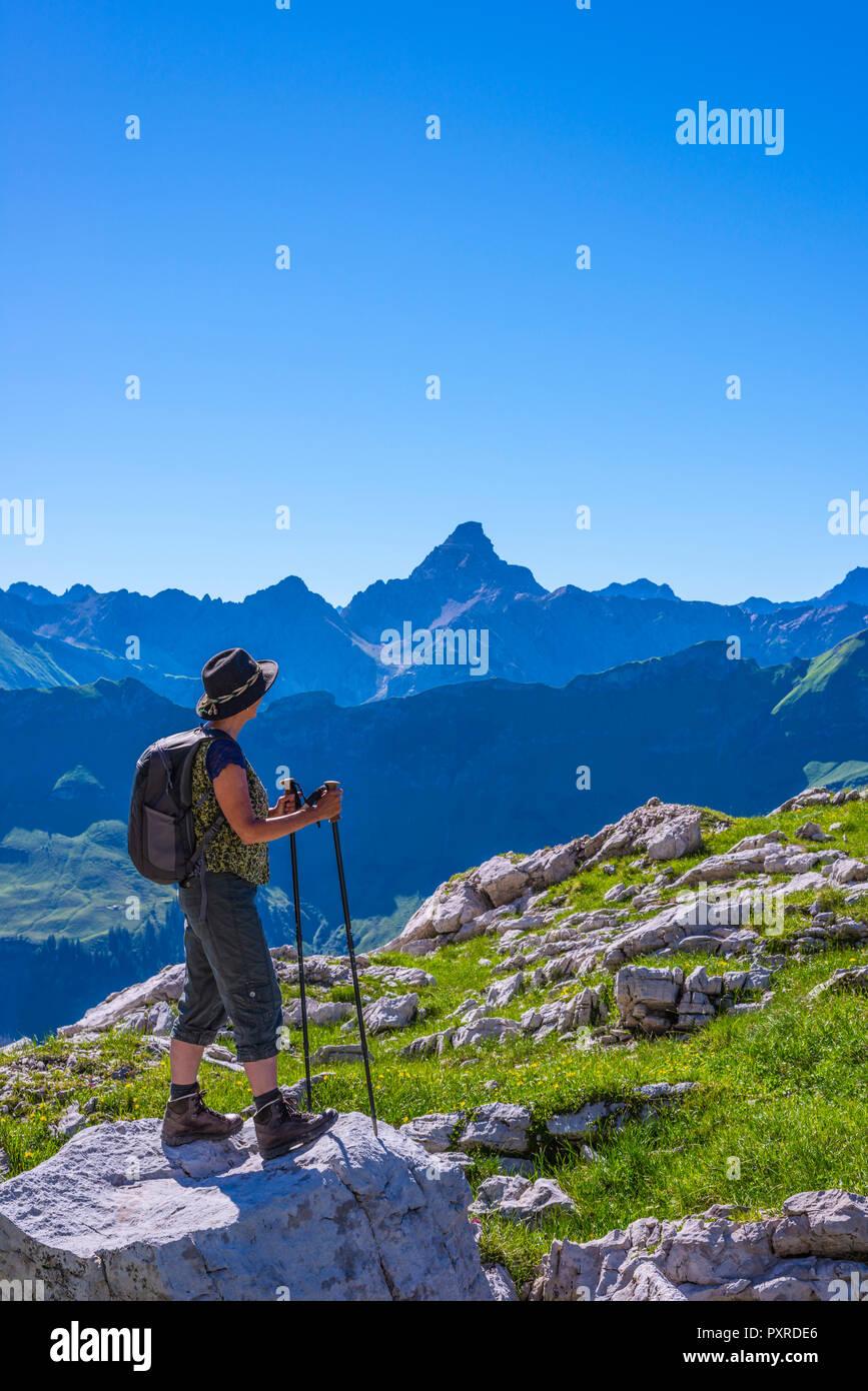 Koblat am Nebelhorn, 2224m, dahinter der Hochvogel (2592m), Allgaeuer Alpen, Allgaeu, Bayern, Deutschland, Europa - Stock Image