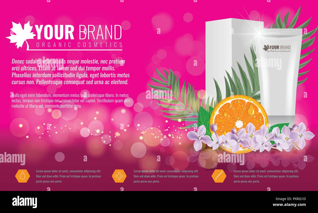 Pink Cosmetics product ads poster template. Cosmetic beauty mockup. Cream tube package with flowers and palm leaf. Vector illustration. Stock Vector