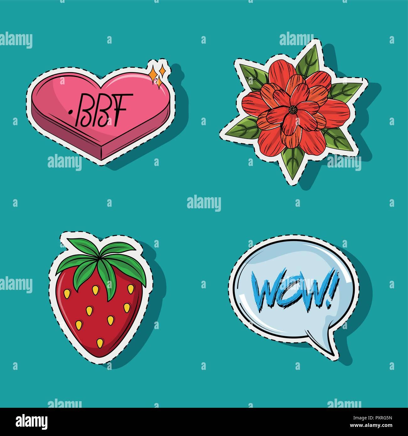Set of cute and romantic cartoons Stock Vector