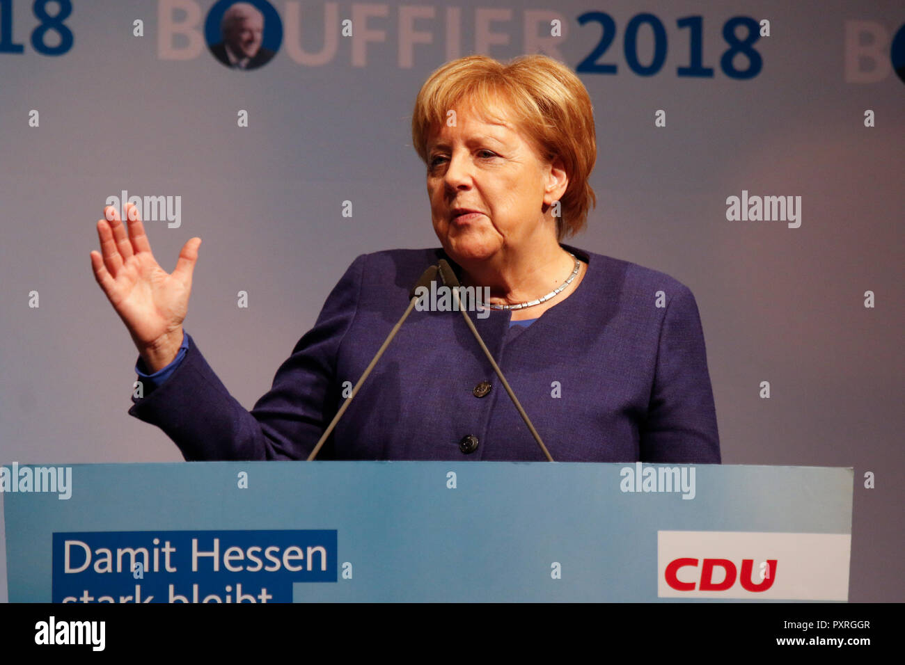 Dieburg, Germany. 23rd October 2018. Angela Merkel, the Chancellor of Germany, speaks at the election rally. German Chancellor Angela Merkel attended a political rally of her CDU party in Dieburg ahead of the upcoming state election in the German state of Hesse. Credit: Michael Debets/Alamy Live News - Stock Image