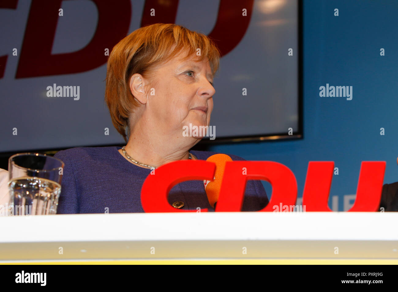 Dieburg, Germany. 23rd October 2018. Angela Merkel, the Chancellor of Germany, is pictured at the election rally. German Chancellor Angela Merkel attended a political rally of her CDU party in Dieburg ahead of the upcoming state election in the German state of Hesse. With less than a week to go to the election, the CDU is still leading the polls, but gas lost more than 10% compared to the last election. - Stock Image