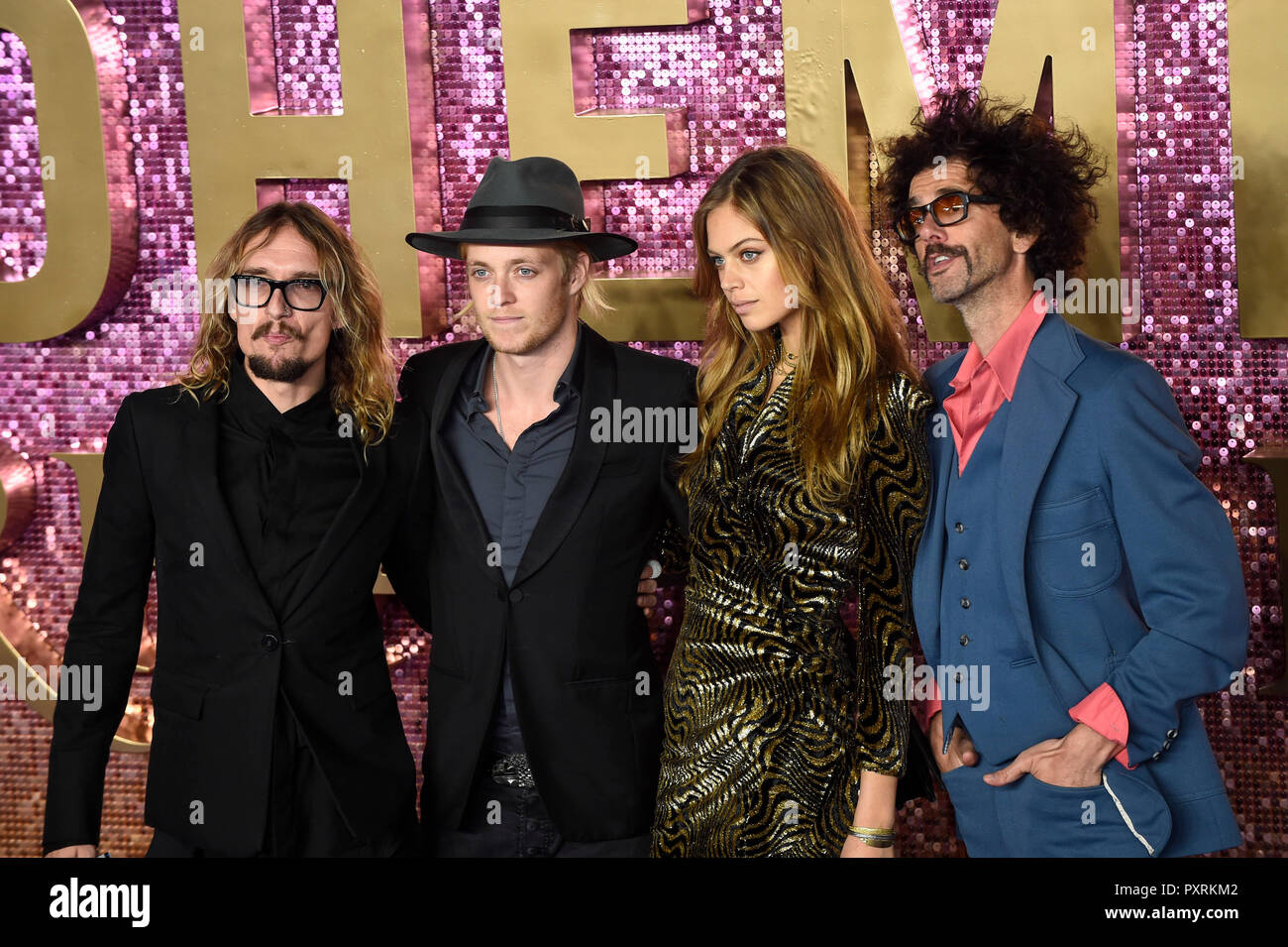 London, UK.  23 October 2018. The Darkness band arrives for the worldwide premiere of the movie 'Bohemian Rhapsody' at The SSE Arena in Wembley. Credit: Stephen Chung / Alamy Live News - Stock Image