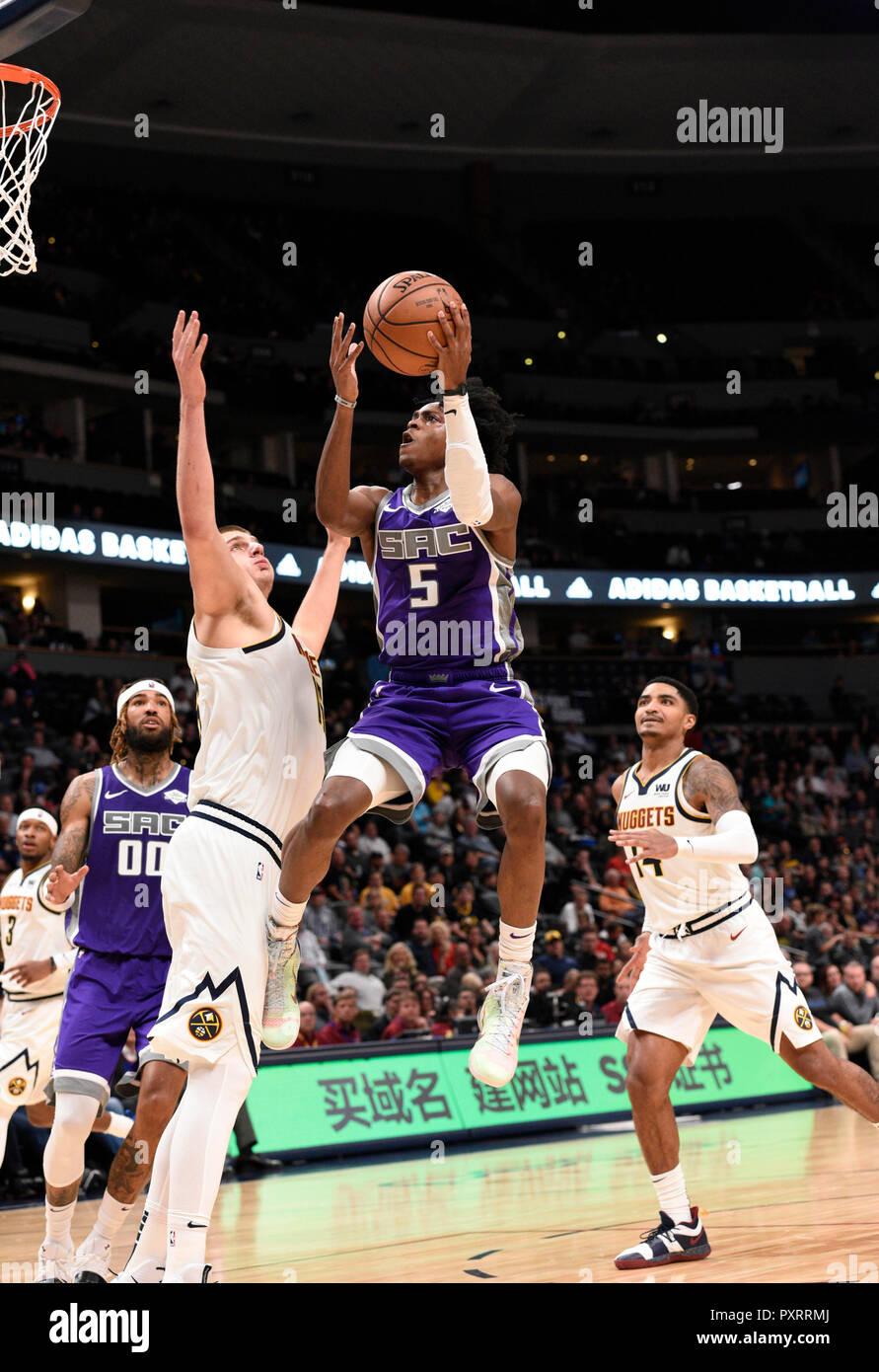 Denver, USA  23rd Oct, 2018  Sacramento Kings guard De'Aaron