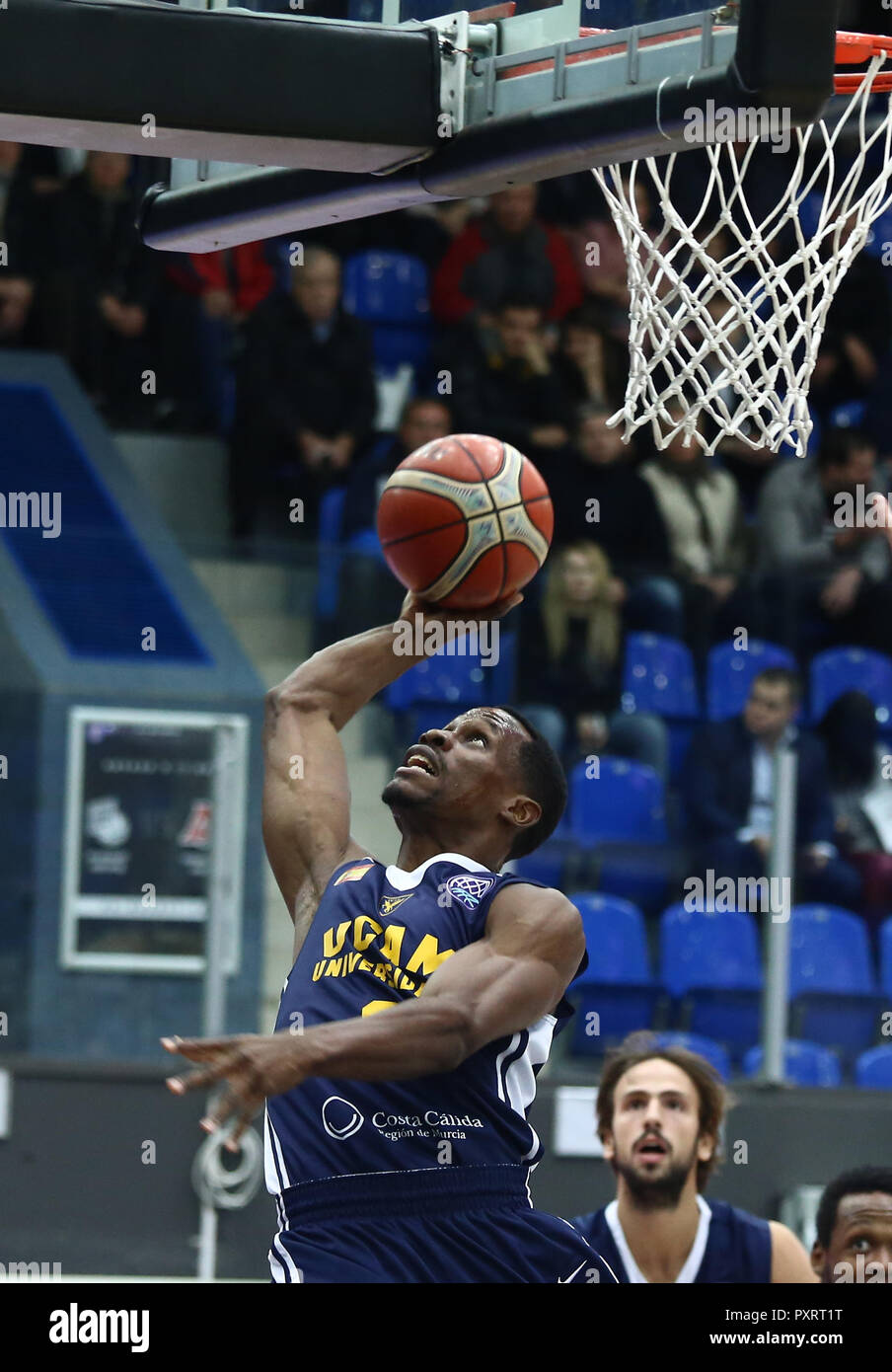 Charlon Kloof (UCAM) seen in action during the game. Basketball Champions League: BC Nizhny Novgorod (BCNN) from Russia vs Ucam Murcia Club Baloncesto (UCAM) from Spain. The game ended with the score 51: 72. Stock Photo