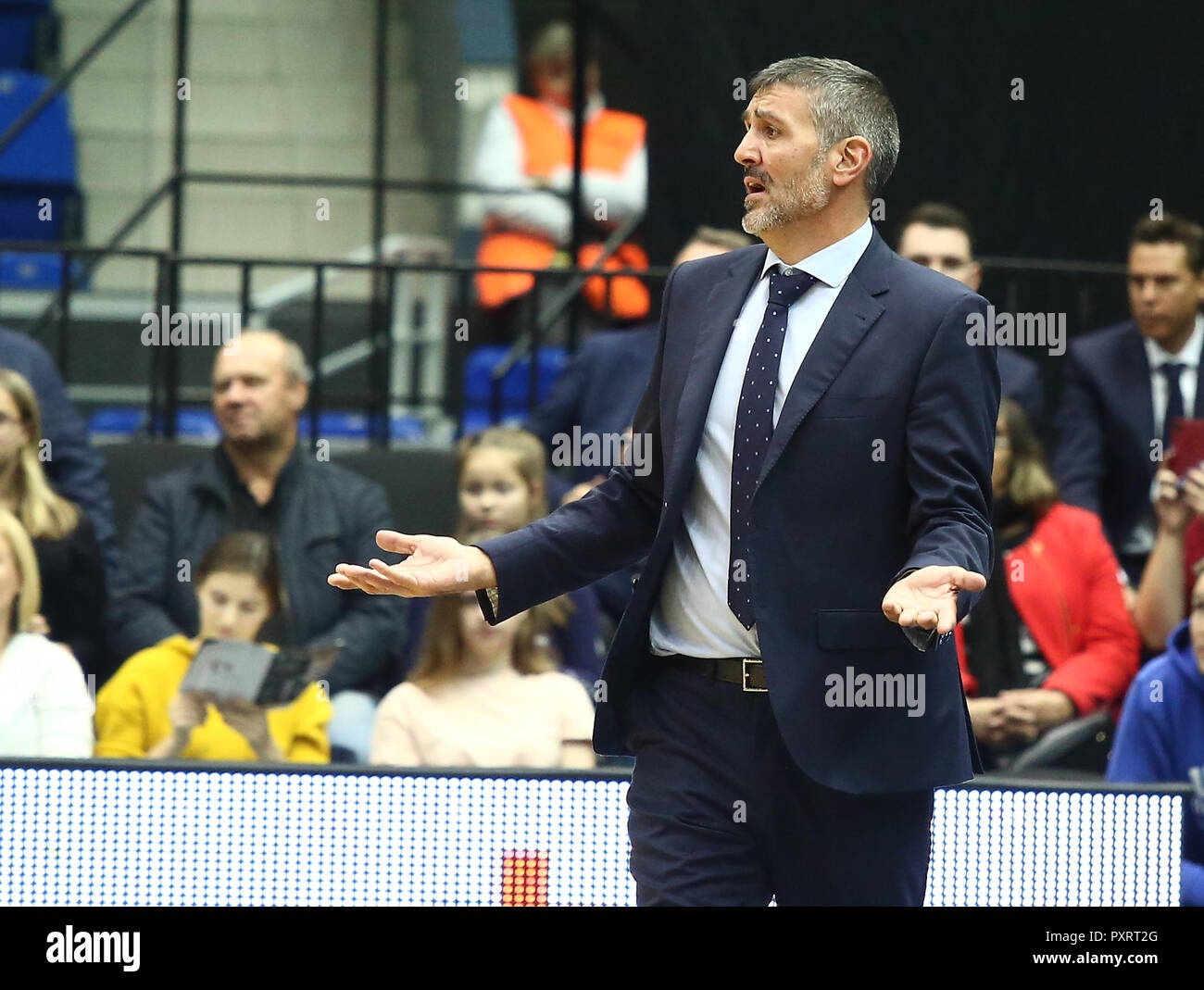 Javier Juarez coach of UCAM seen during the game. Basketball Champions League: BC Nizhny Novgorod (BCNN) from Russia vs Ucam Murcia Club Baloncesto (UCAM) from Spain. The game ended with the score 51: 72. Stock Photo