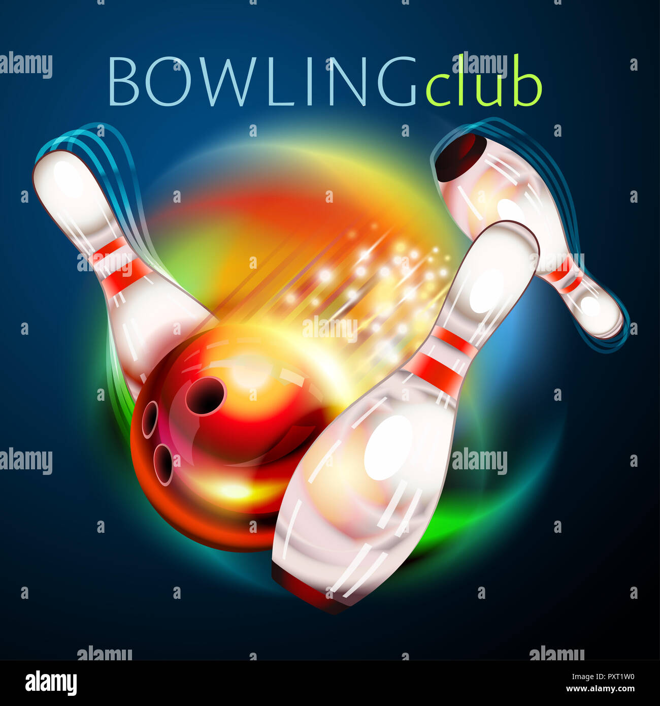 Bowling ball flying over rainbow background  Bowling game with