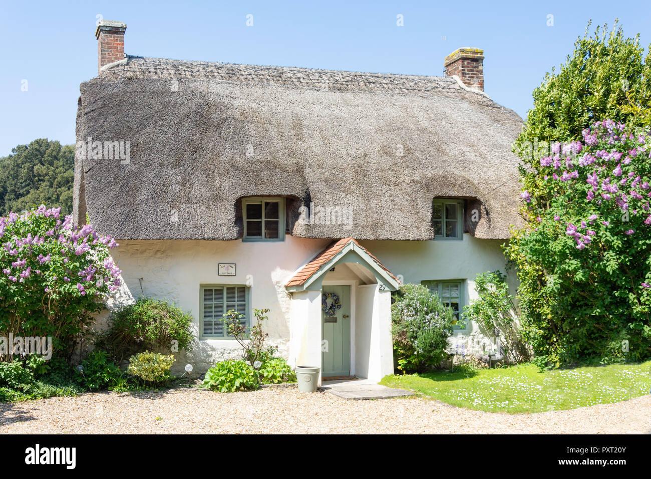 Thatched cottage, Main Road, West Lulworth, Dorset, England, United Kingdom - Stock Image