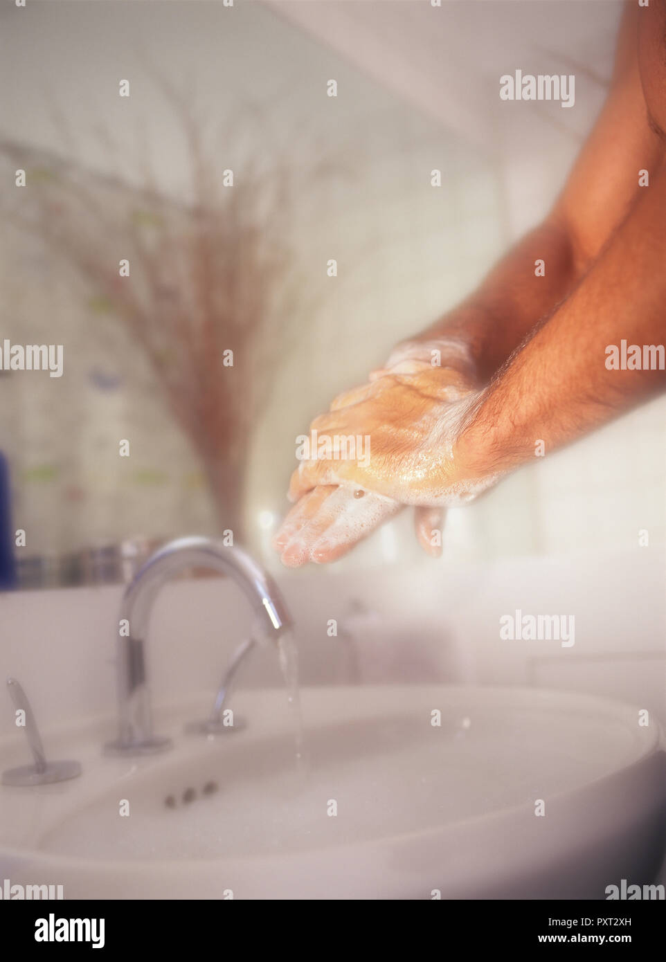 Man scrubbing and washing hands with vigor against a soft background in bathroom - Stock Image