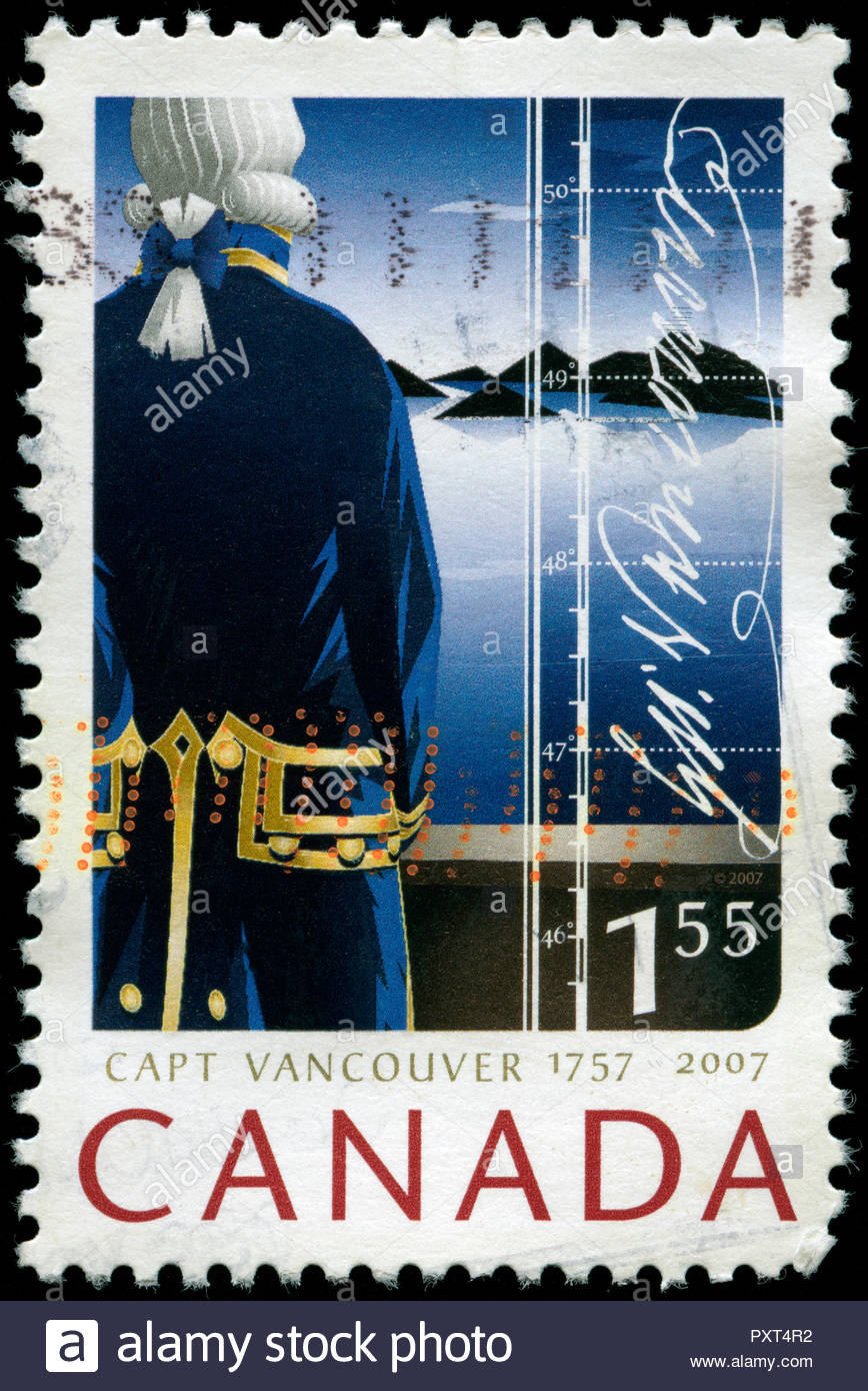Postmarked stamp from Canada in the 250th Anniv. of Captain George Vancouver series issued in 2007 Stock Photo
