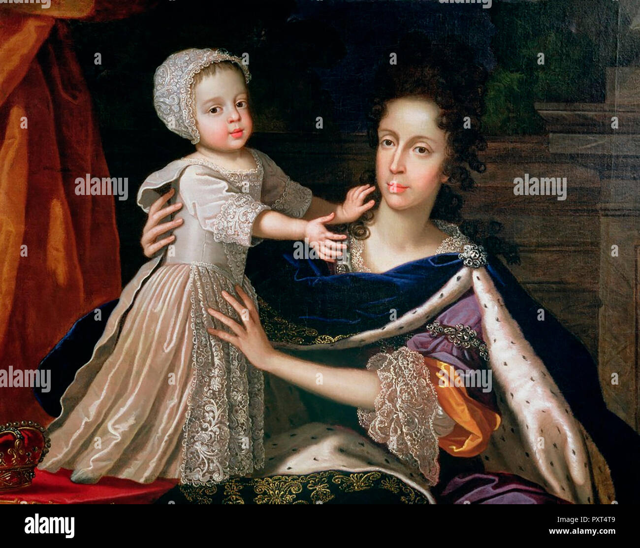 James III and Mary of Modena -Queen wife of James II, with her only son, James III, the Jacobite Pretender.  Benedetto Gennari II, circa 1690 - Stock Image