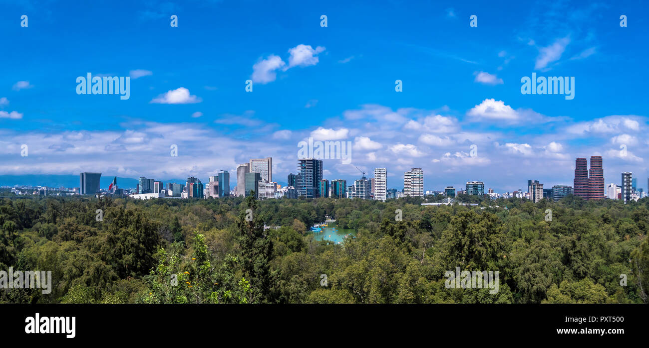 Panoramic view of the skyline of Mexico city - Stock Image