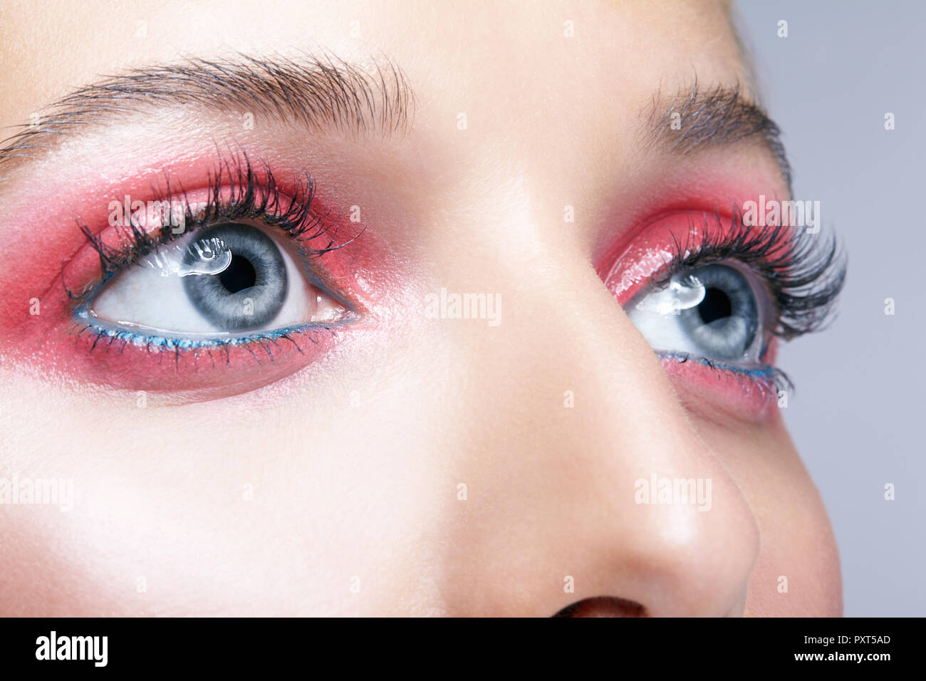 2502e09b10d Closeup macro shot of female face and pink smoky eyes beauty makeup. Woman  with glossy
