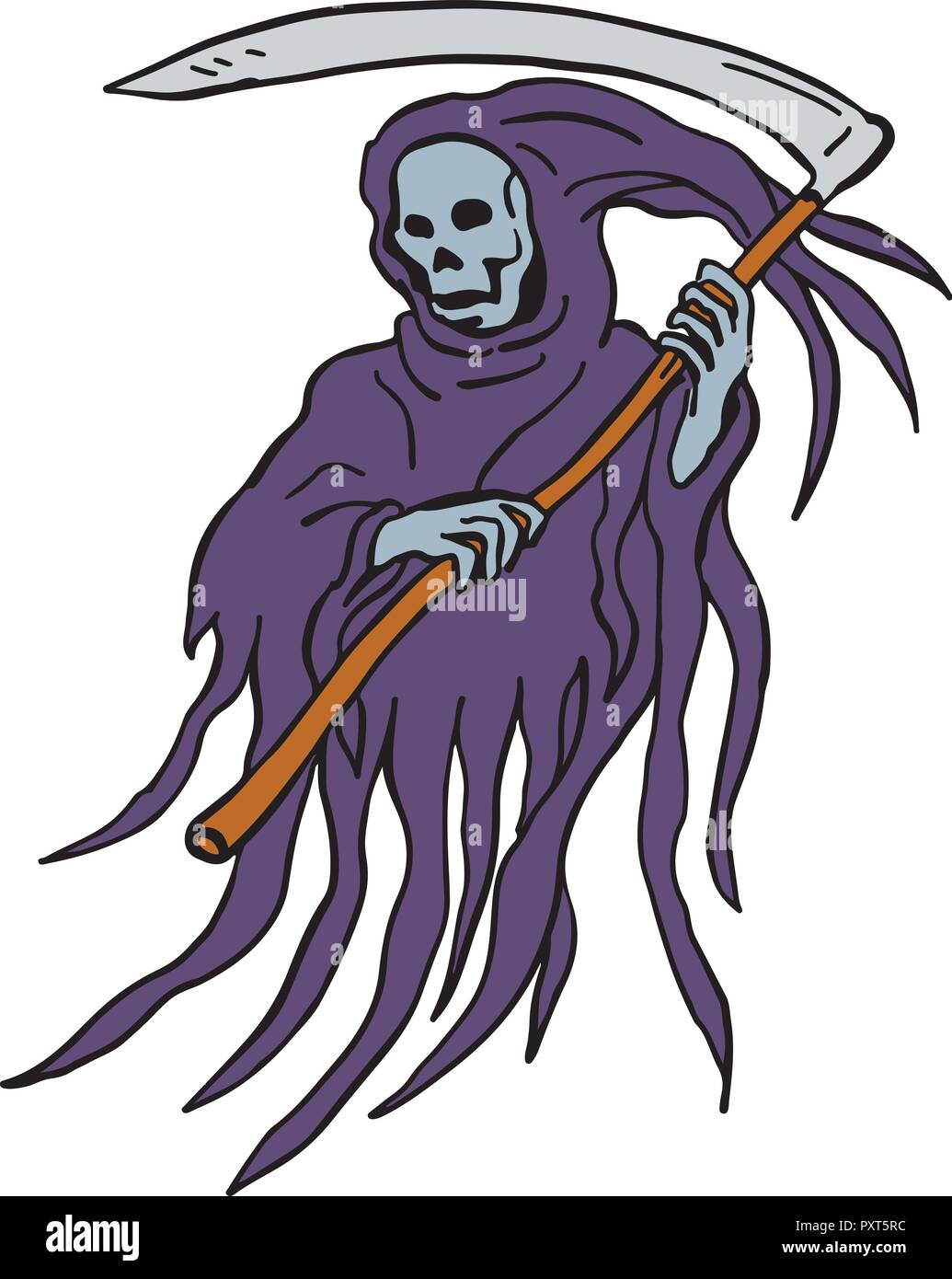Drawing sketch style illustration of the evil grim reaper or death
