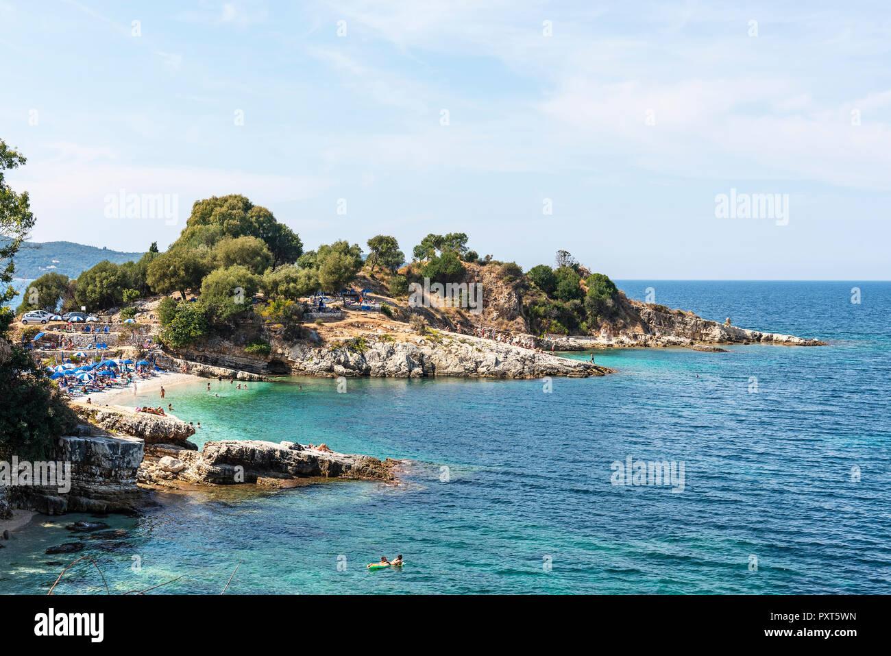 Beach, Kassiopi, Corfu Island, Ionian Islands, Mediterranean Sea, Greece - Stock Image