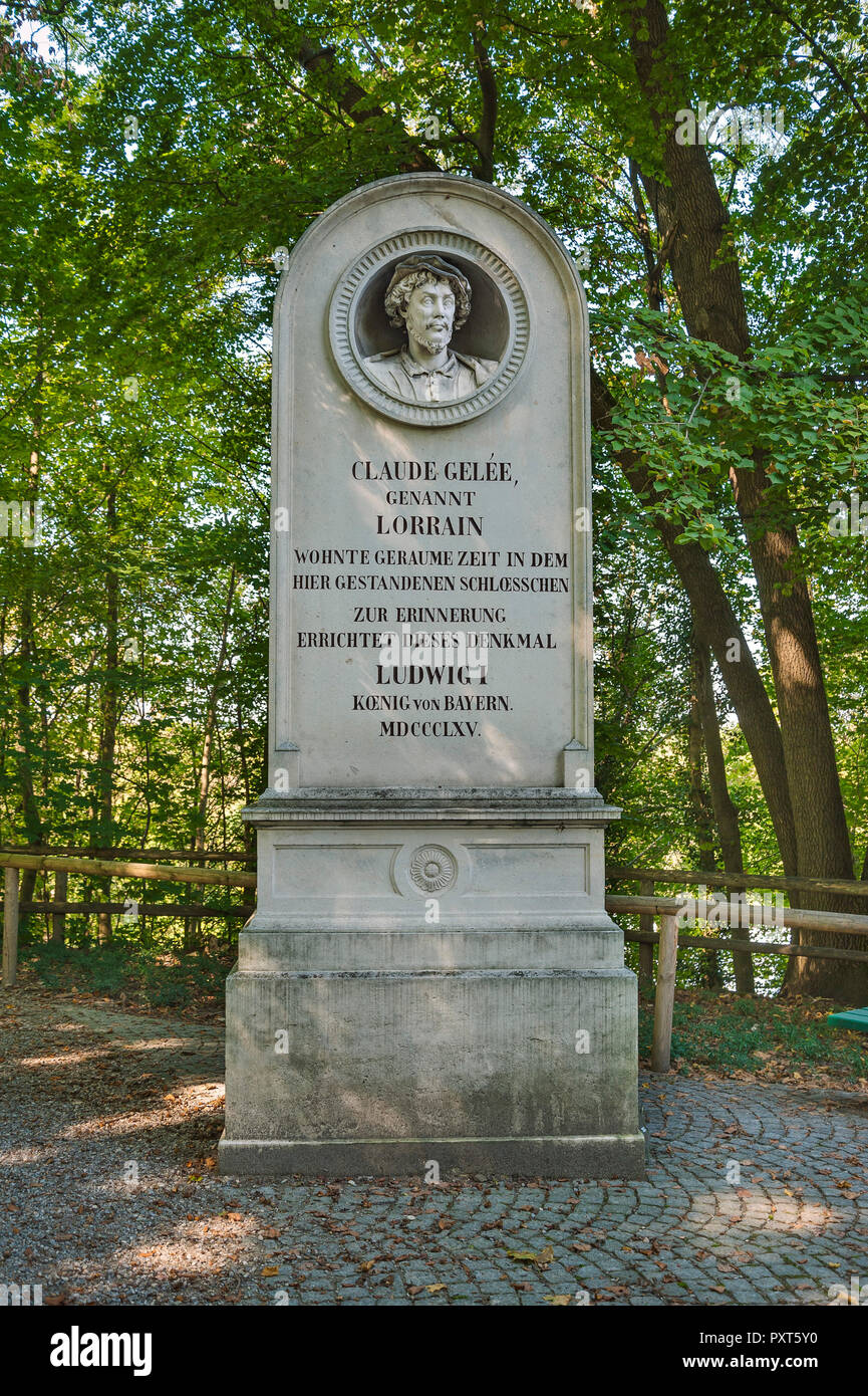 Memorial stone for Claude Gelee, called Claude Lorrain, Baroque painter, Harlaching, Munich, Upper Bavaria, Bavaria, Germany - Stock Image