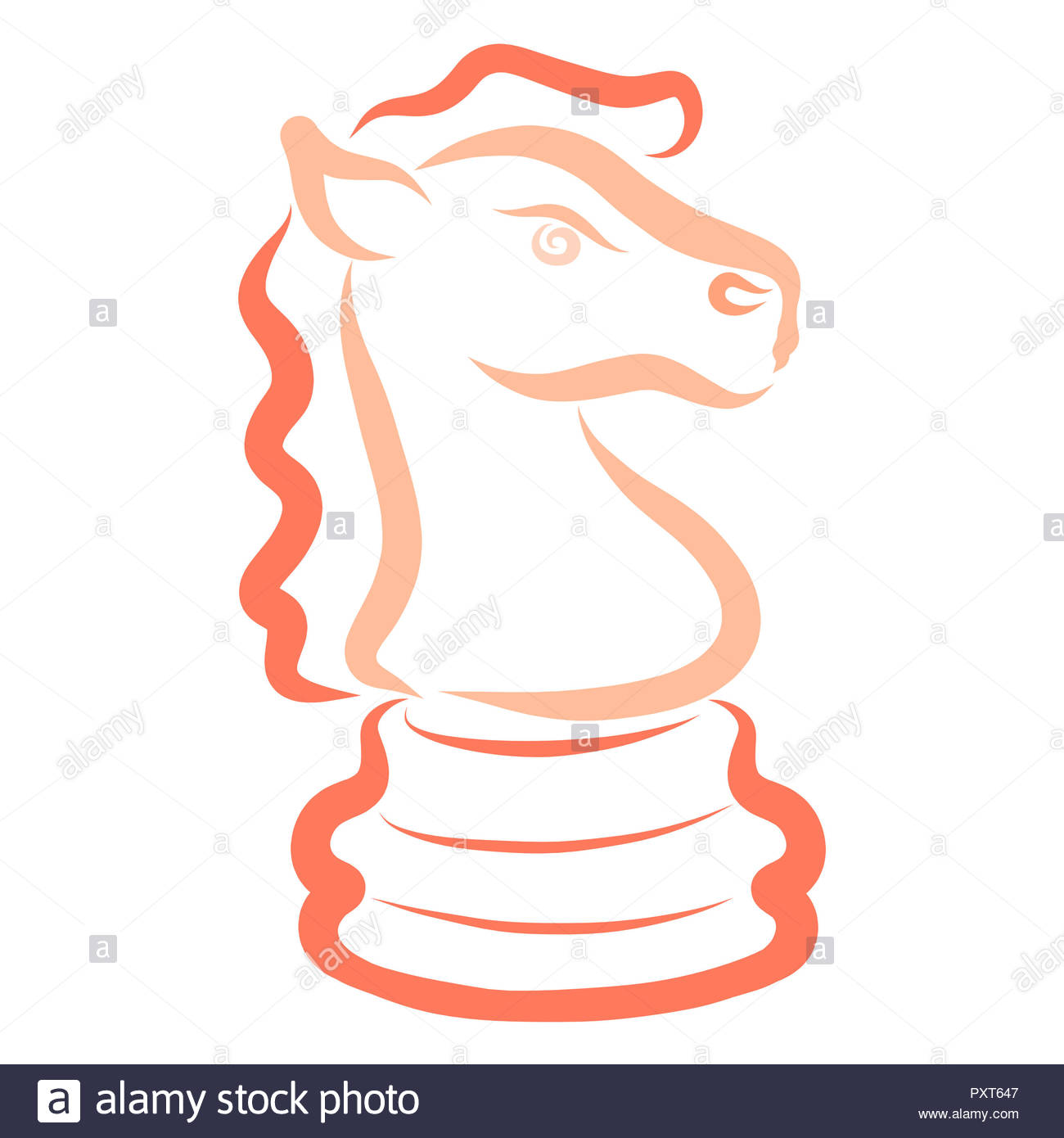 colorful bright chess piece, knight, sketch, horse - Stock Image