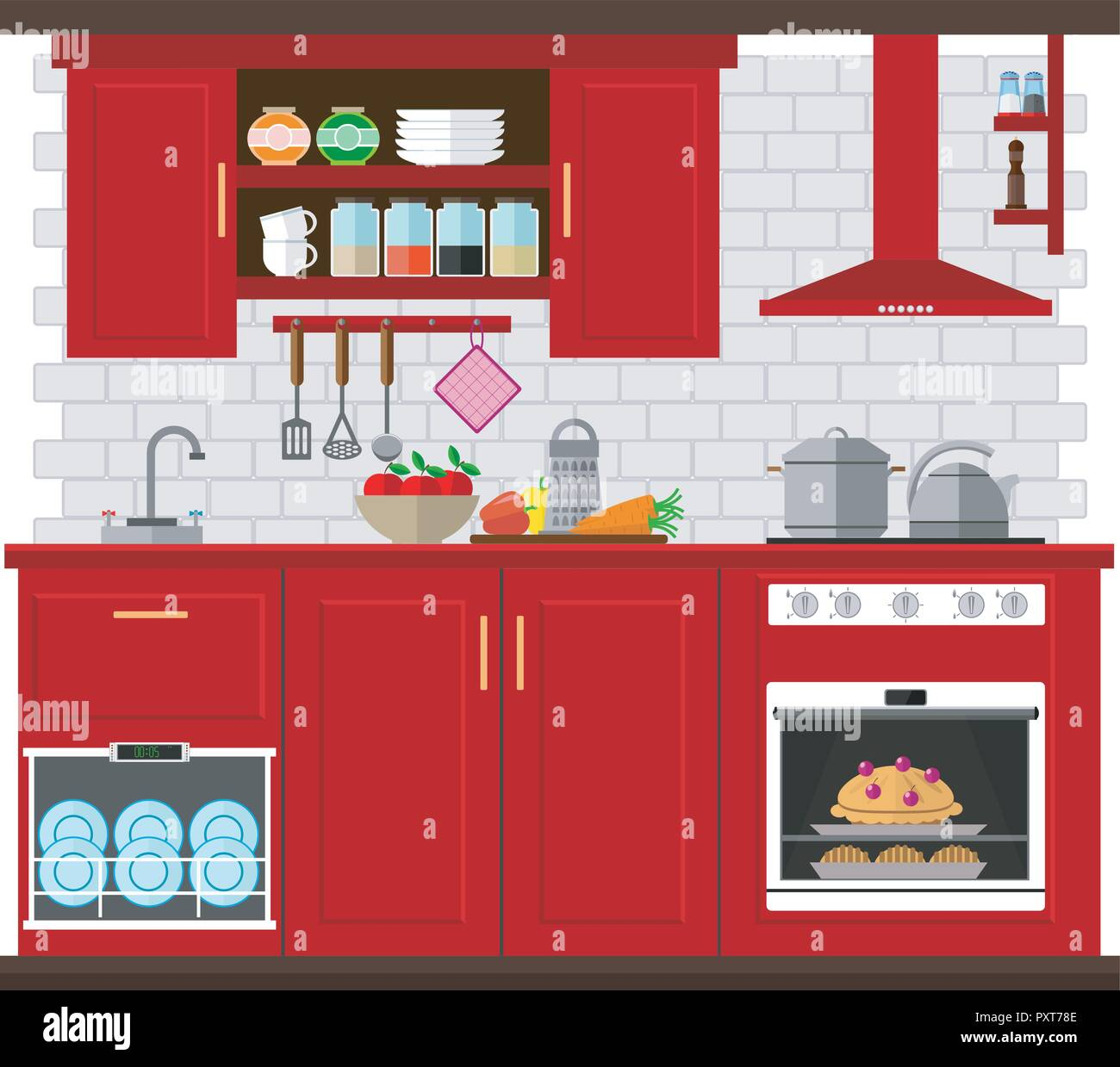 Kitchen Set With Furniture Utensils And Appliances Vector
