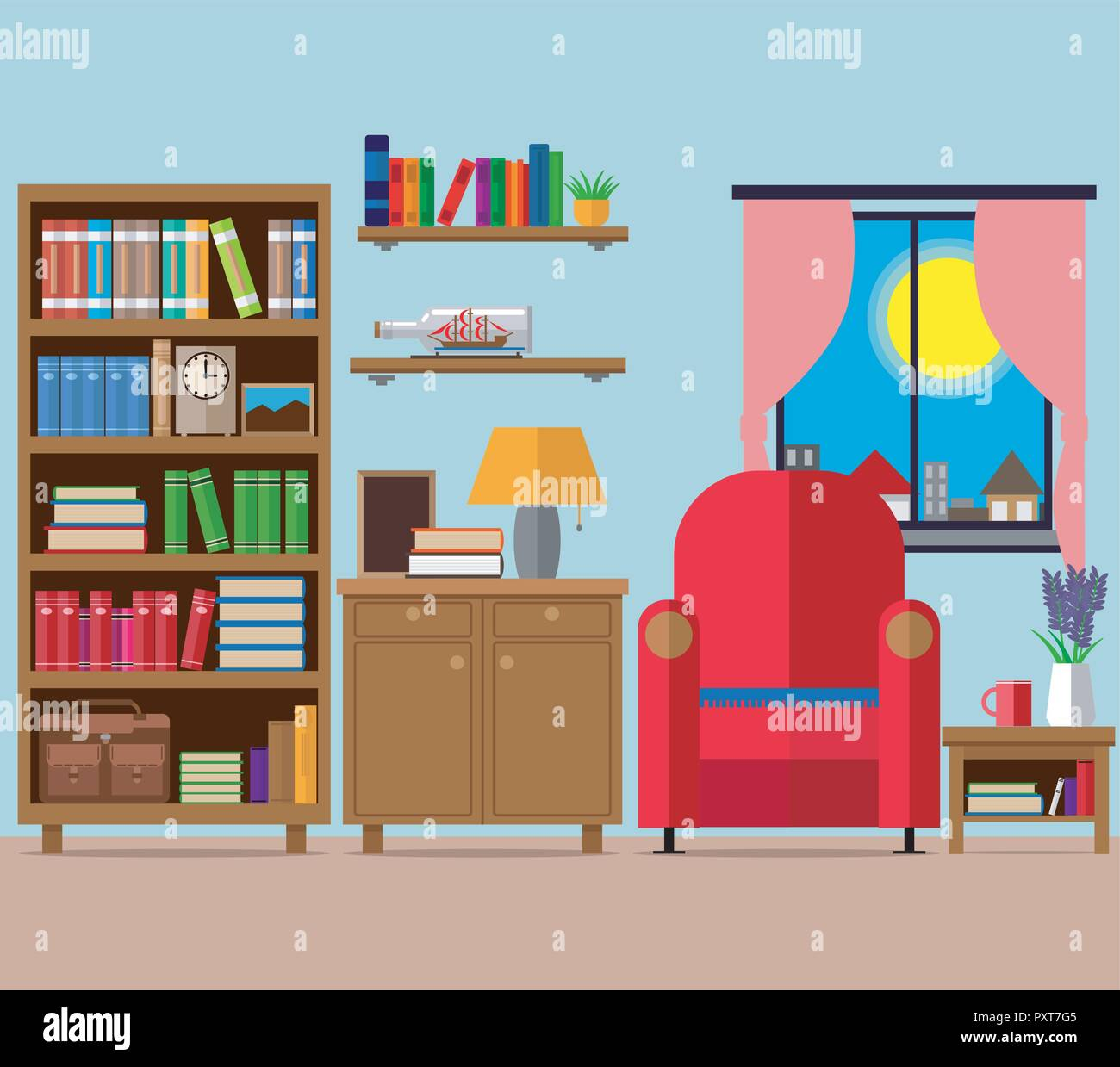 Cozy Living Room Vector Illustration: Bookcase Illustration Stock Photos & Bookcase Illustration
