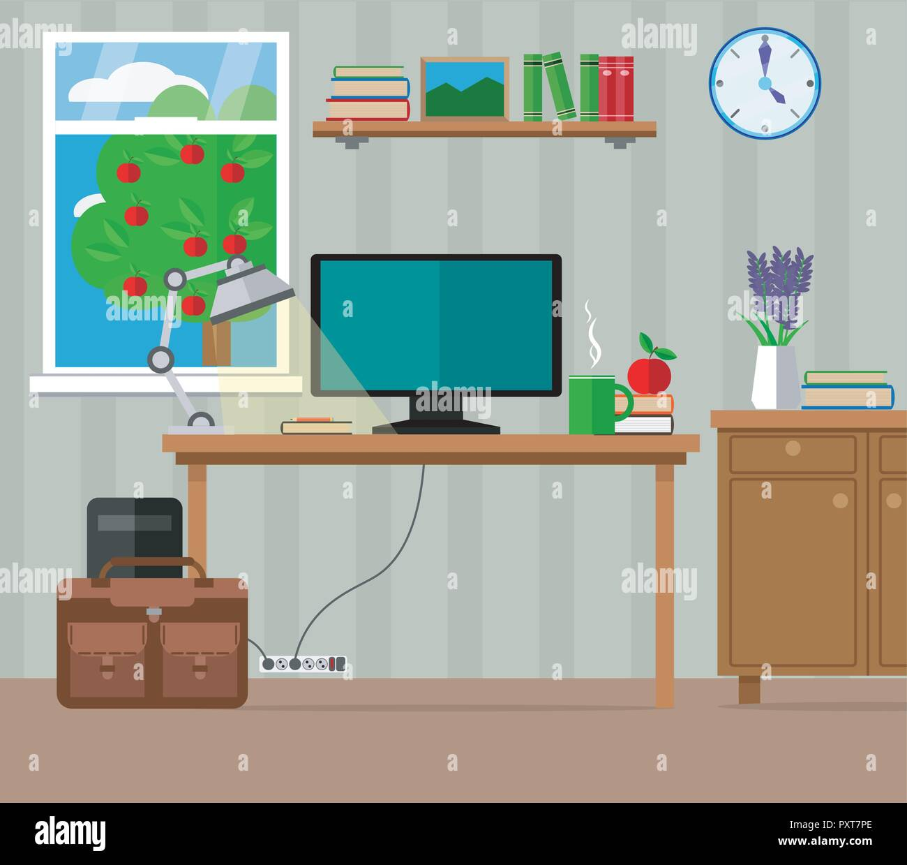 Living Room Workplace With Computer Furniture And Window Vector Illustration Set Stock Vector Image Art Alamy