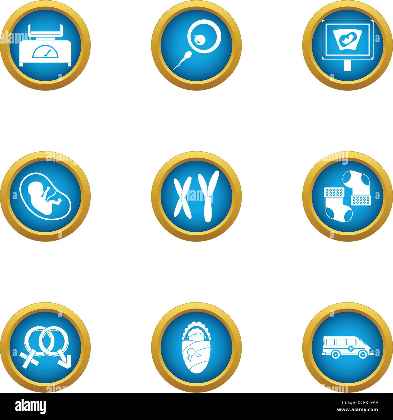 Somatic cell icons set, flat style - Stock Image