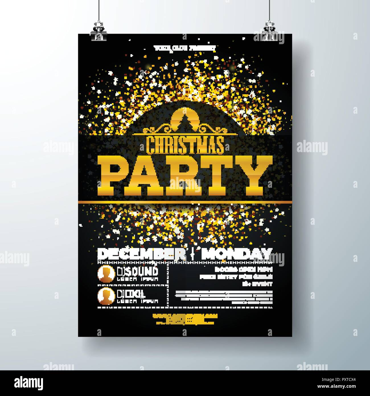 Merry Christmas Party Poster Design Template with Gold Glitter and Holiday Typography Elements on Black Background. Vector Holiday Celebration Plyer Illustration for Invitation or Banner. Stock Vector