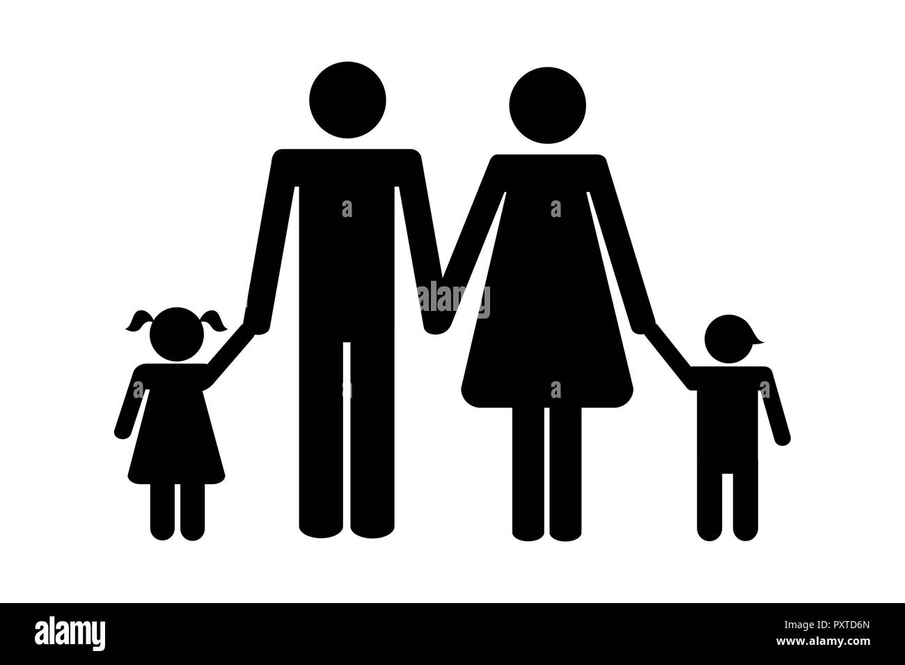 family with two children pictogram vector illustration EPS10 - Stock Image