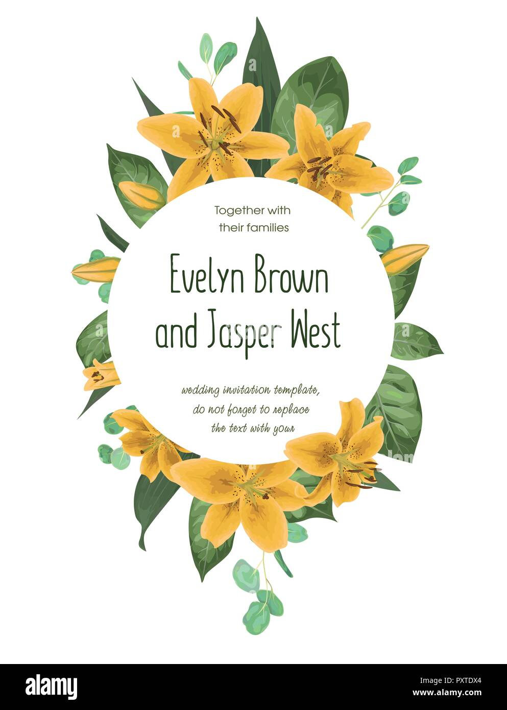 Wedding floral invitation, invite card  Vector watercolor