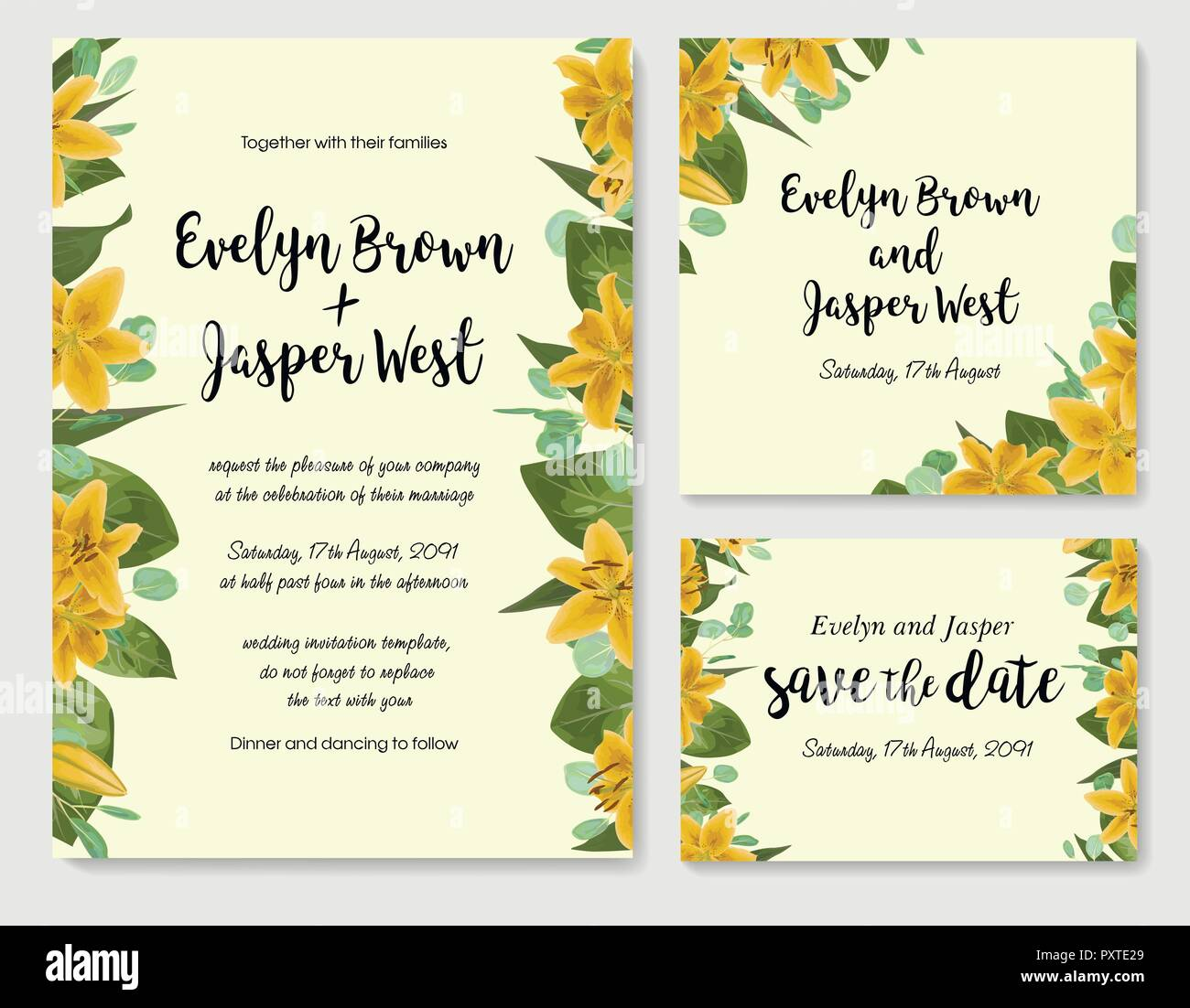 Wedding floral invitation, invite card. Vector watercolor style herbs, eucalyptus, yellow lily, waxflower natural, botanical green. Set horizontal and - Stock Image