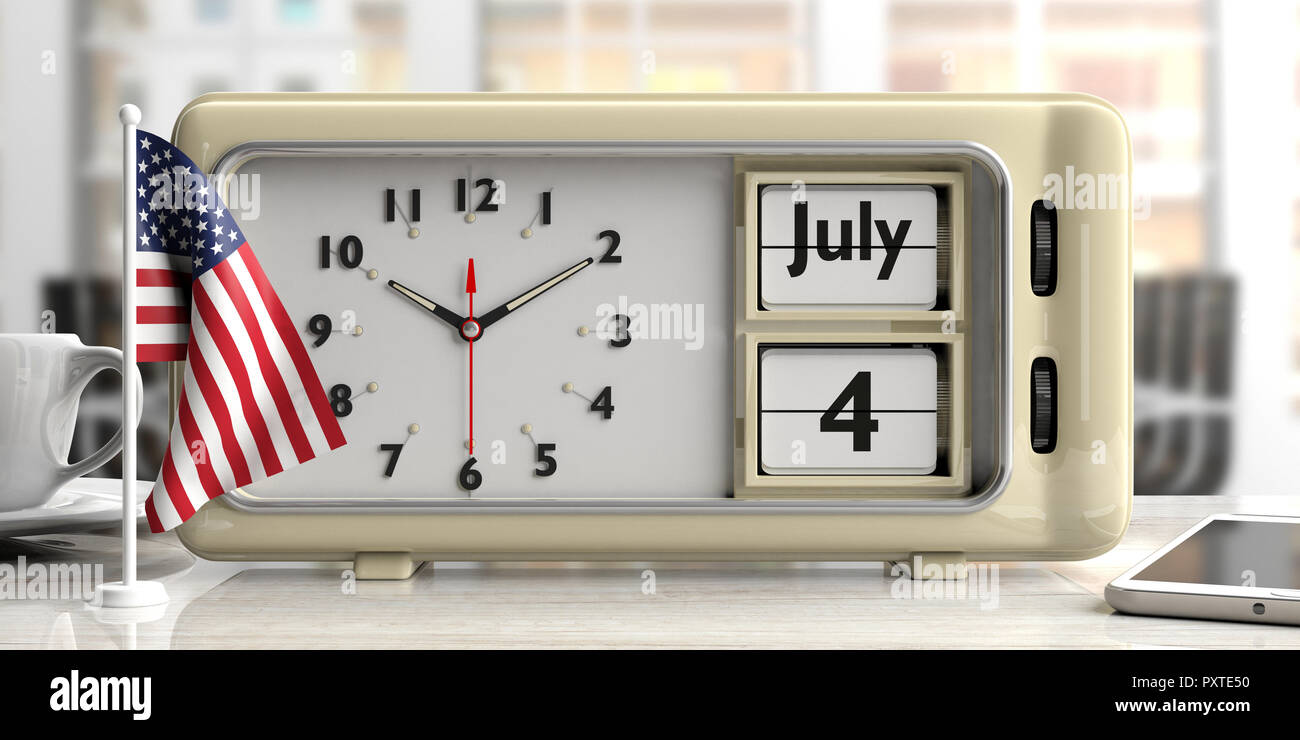 49de940fba6209 4th of July Independence Day on old retro vintage alarm clock and American  flag on office desk. Blurry background. 3d illustration.
