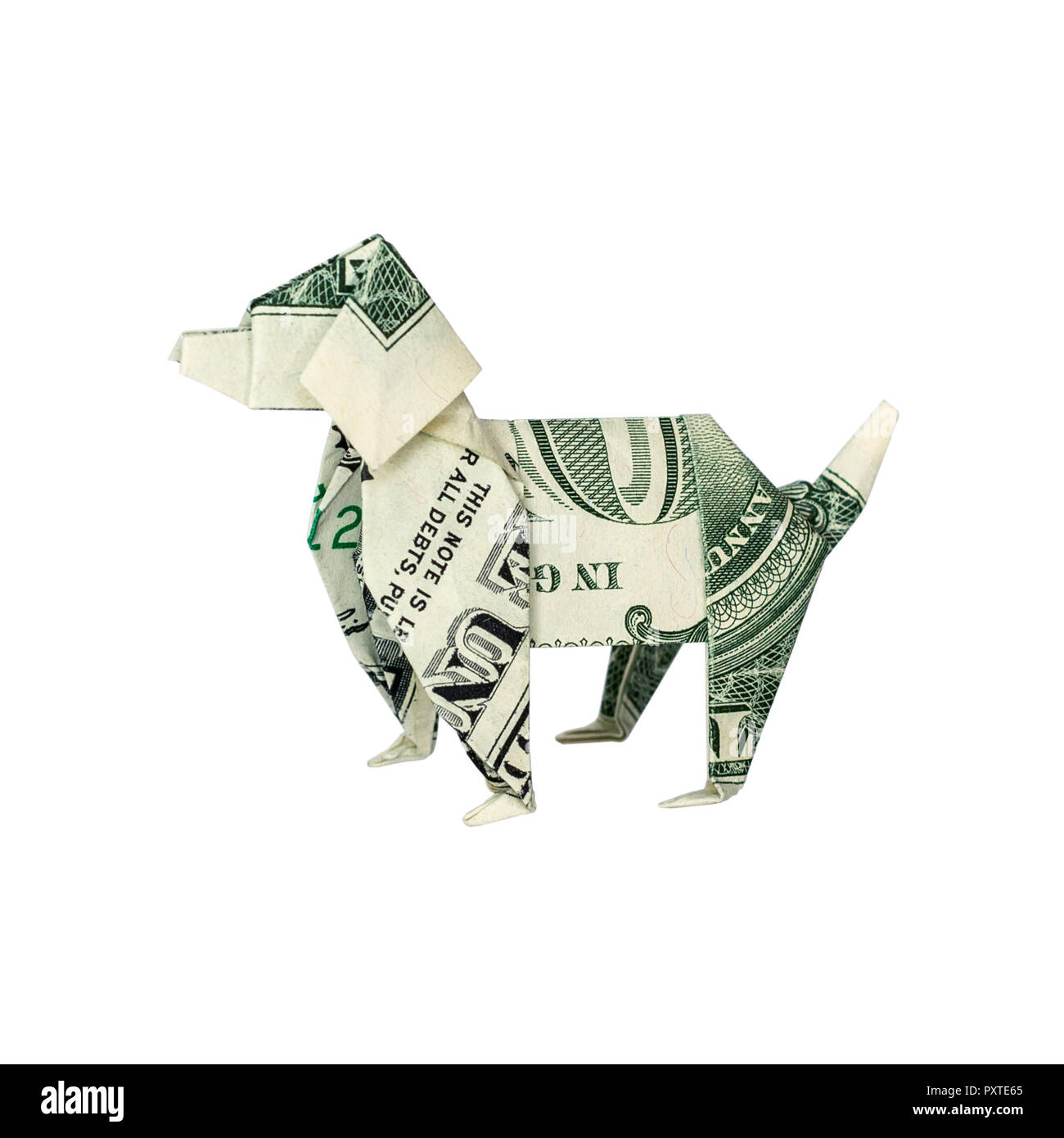Money Origami Dog Folded With Real One Dollar Bill Isolated