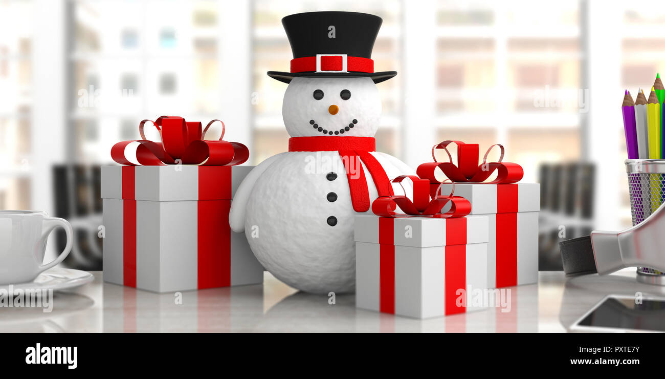 Business Christmas Presents A Smiling Snowman With Gift Boxes On A