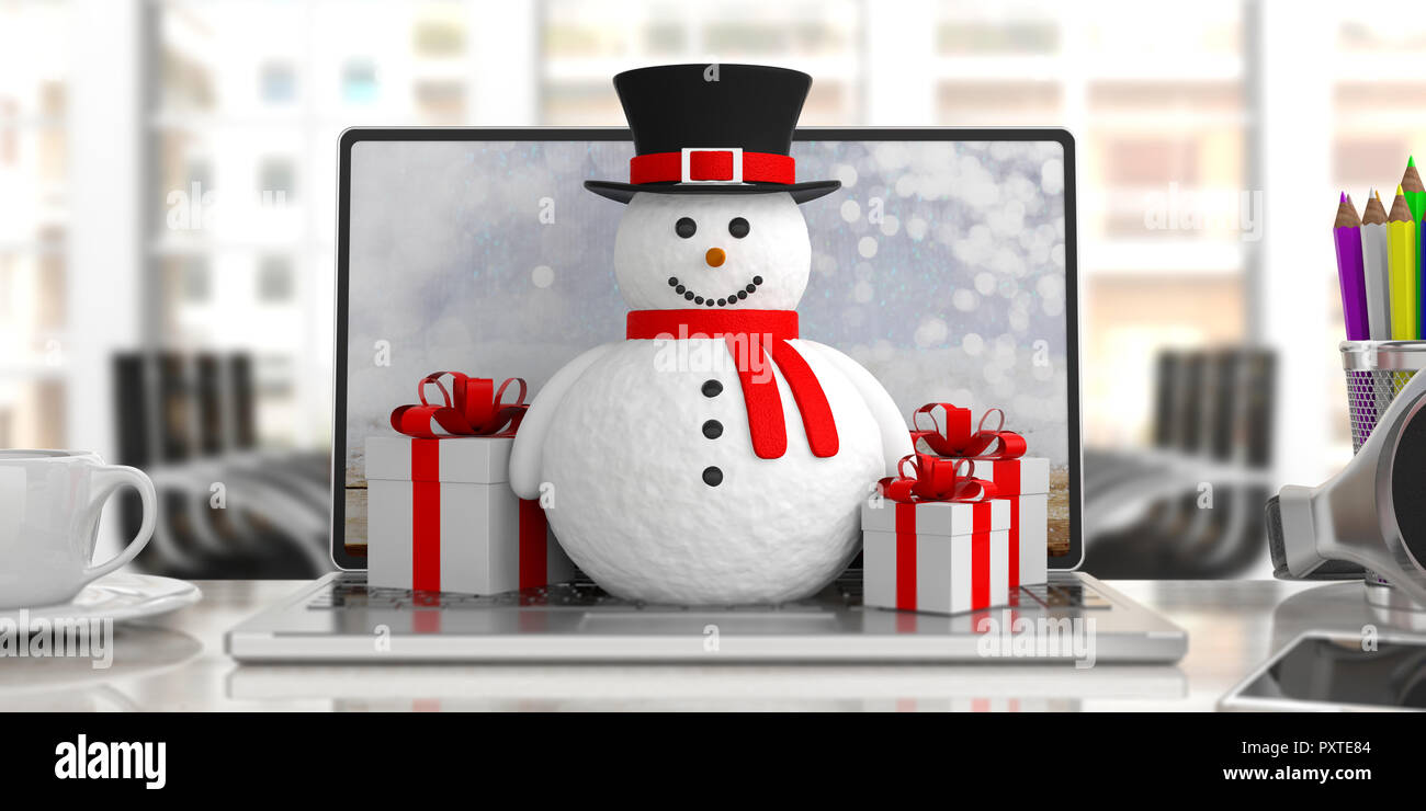 Business Christmas Presents A Smiling Snowman On A Laptop